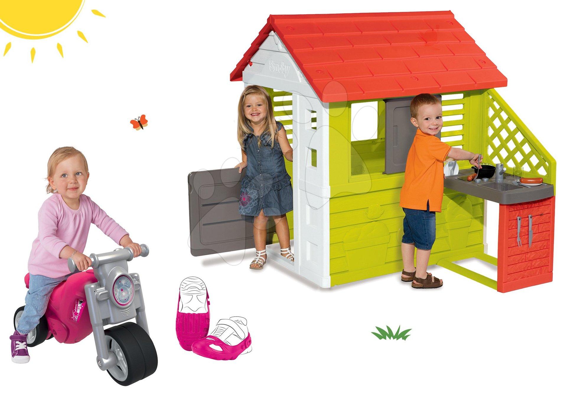 Smoby set domček Pretty Nature s letnou kuchynkou a odrážadlo Girl Bike a ochranné návleky na topánky 810702-36