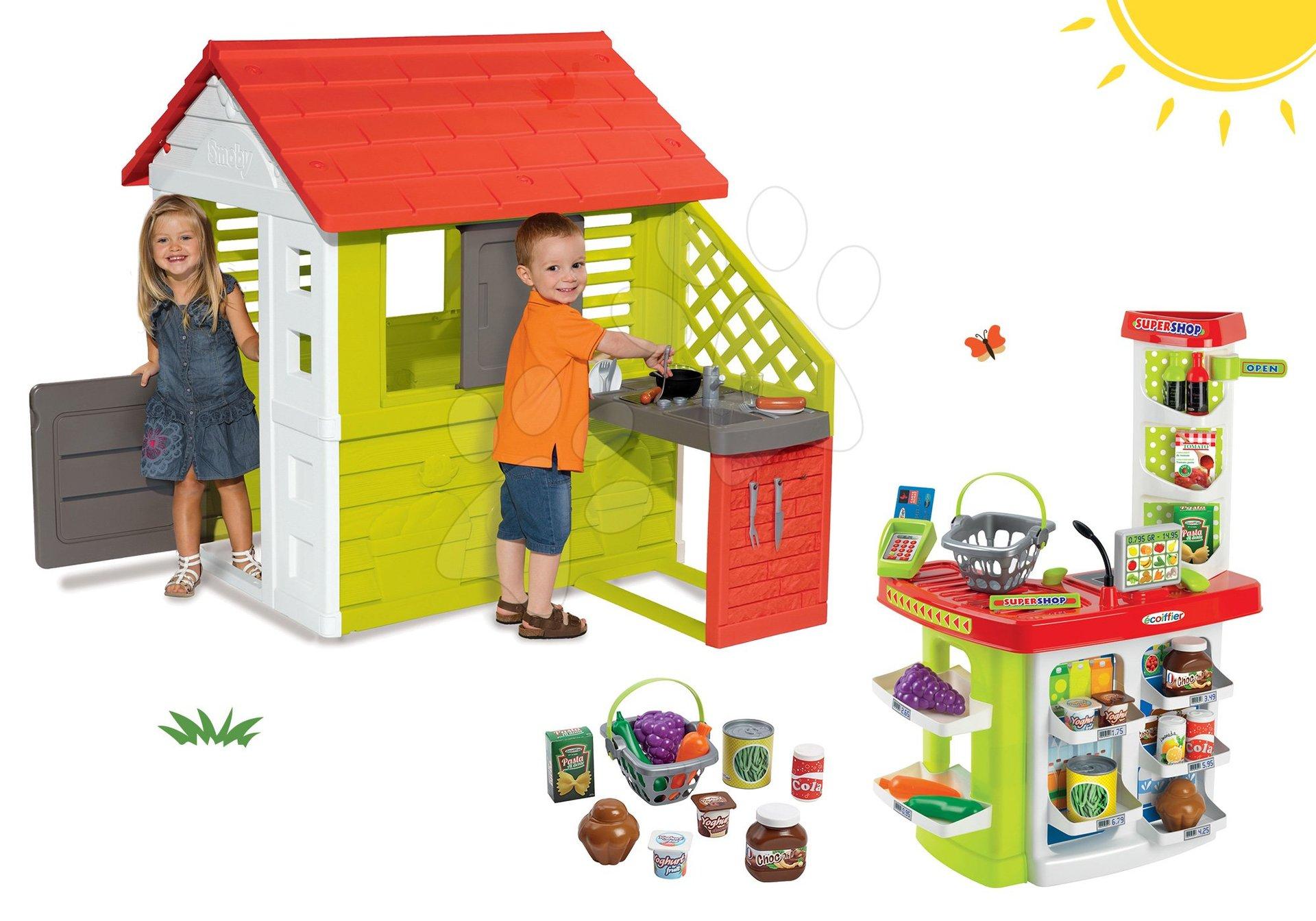 Smoby set domček Pretty Nature s letnou kuchynkou a obchod Supershop s potravinami a košíkom 810702-41