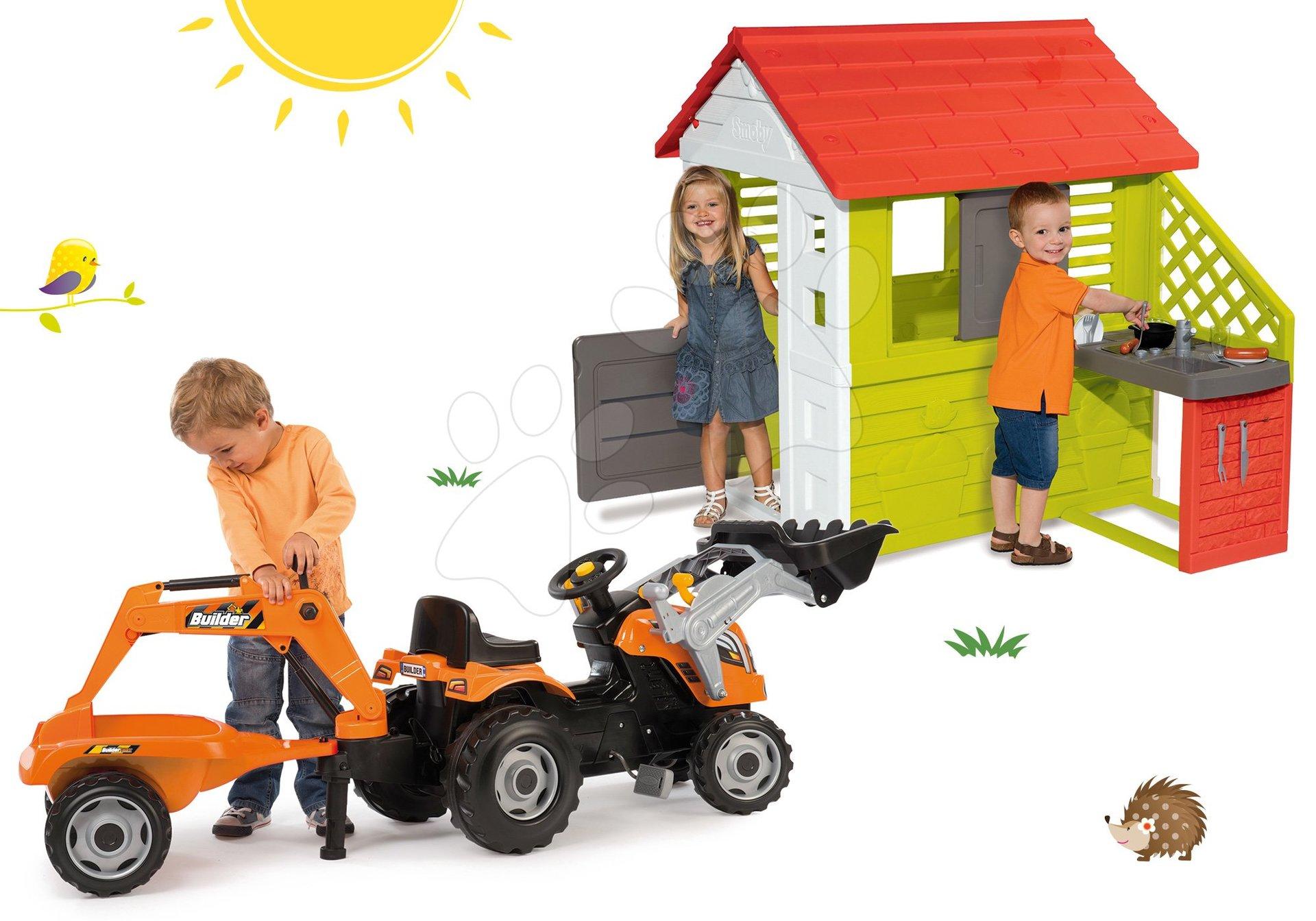 Set domeček Pretty Nature s letní kuchyňkou Smoby a traktor na šlapání Builder Max Stavbař od 24 měsíců