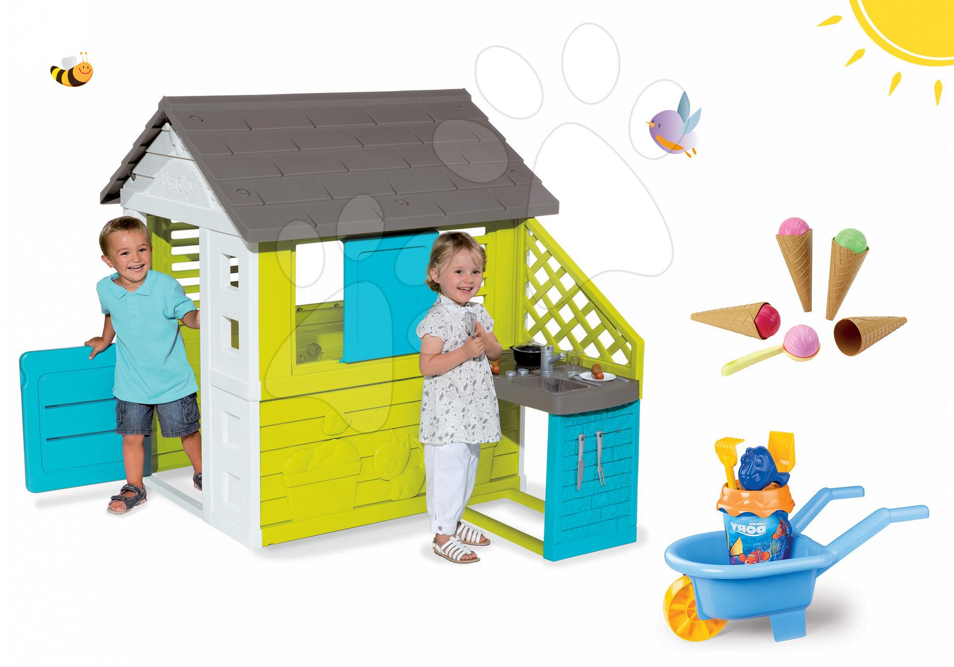 Set domeček Pretty Blue s letní kuchyňkou Smoby a kolečko Hledá se Dory, kbelík set, zmrzlina od 24 měsíců