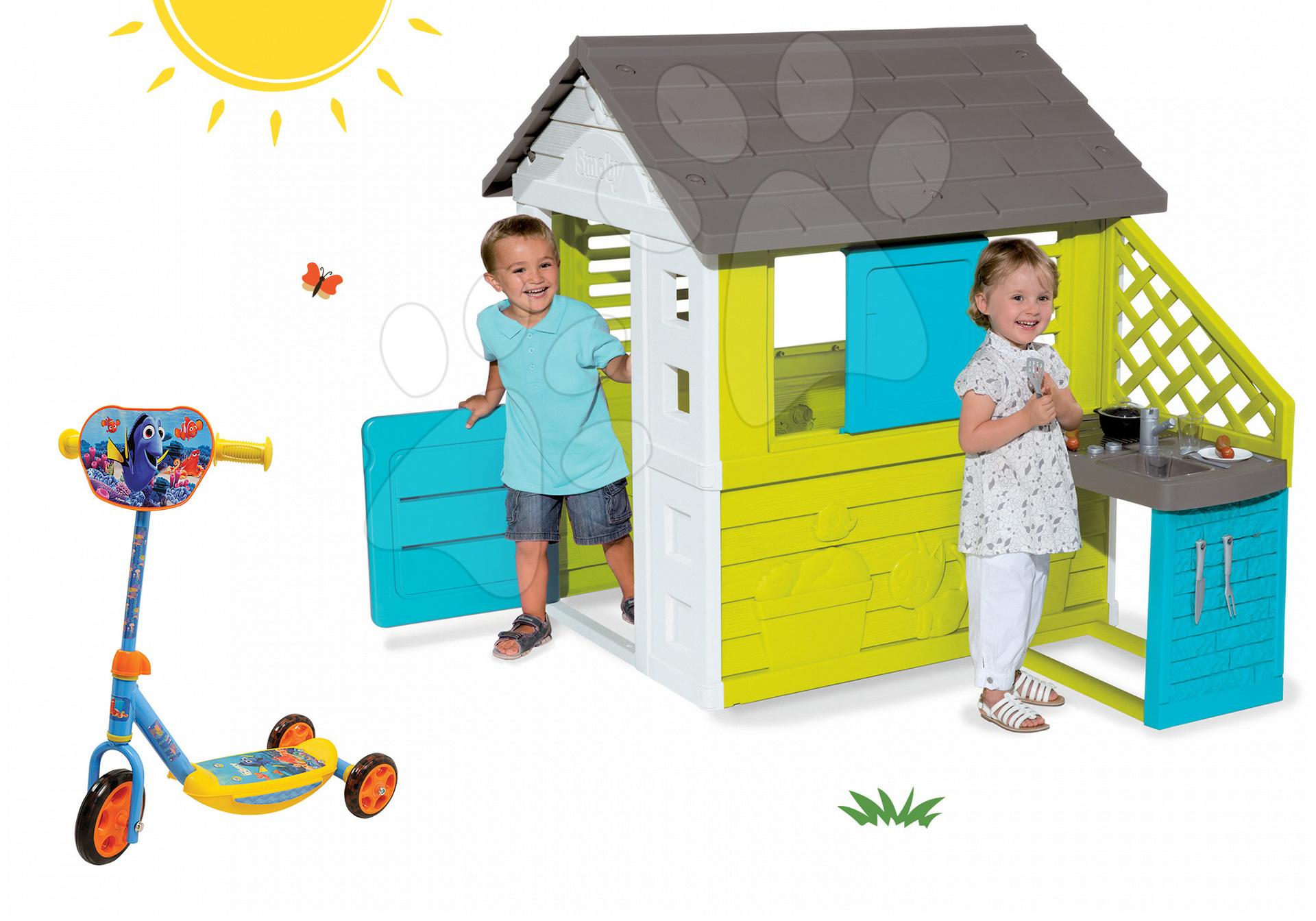 Set domeček Pretty Blue Smoby s letní kuchyňkou a tříkolová koloběžka Hledá se Dory ako Dárek