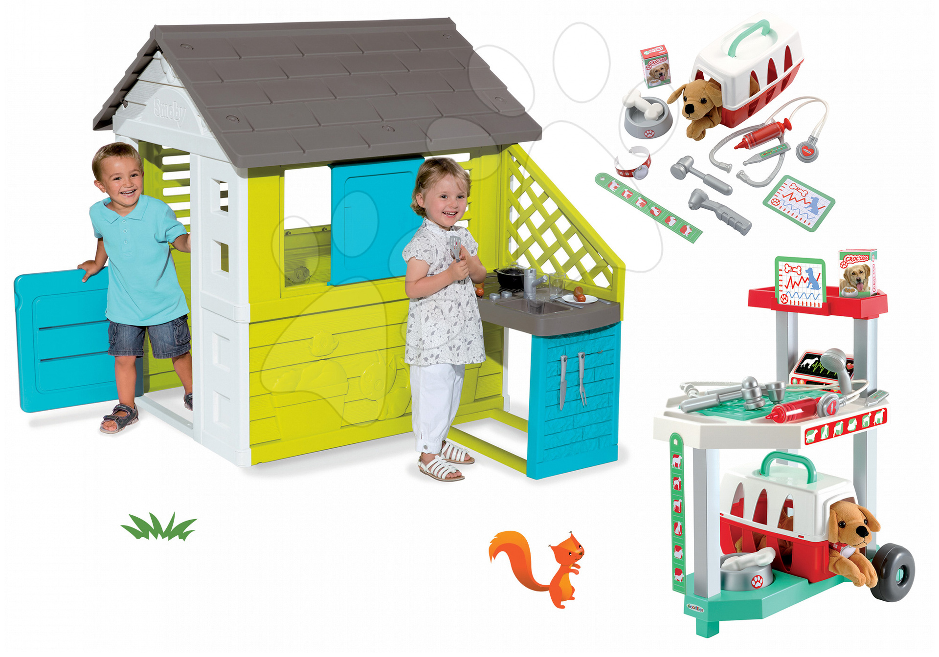 Set domeček Pretty Blue Smoby s letní kuchyňkou a veterinární klinika s pejskem