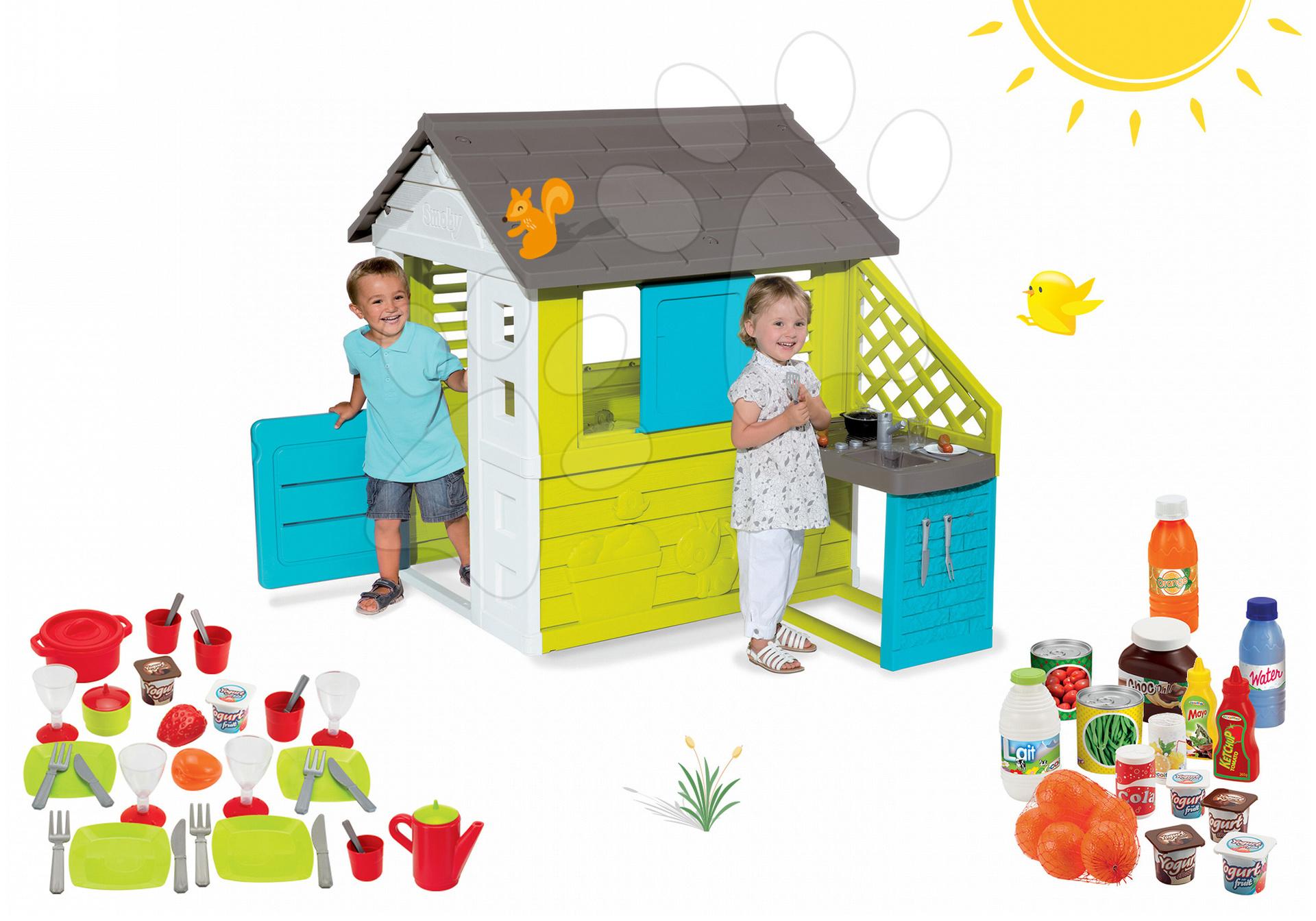 Smoby set domeček Pretty Blue a Écoiffier jídelní sada a potraviny 810703-15