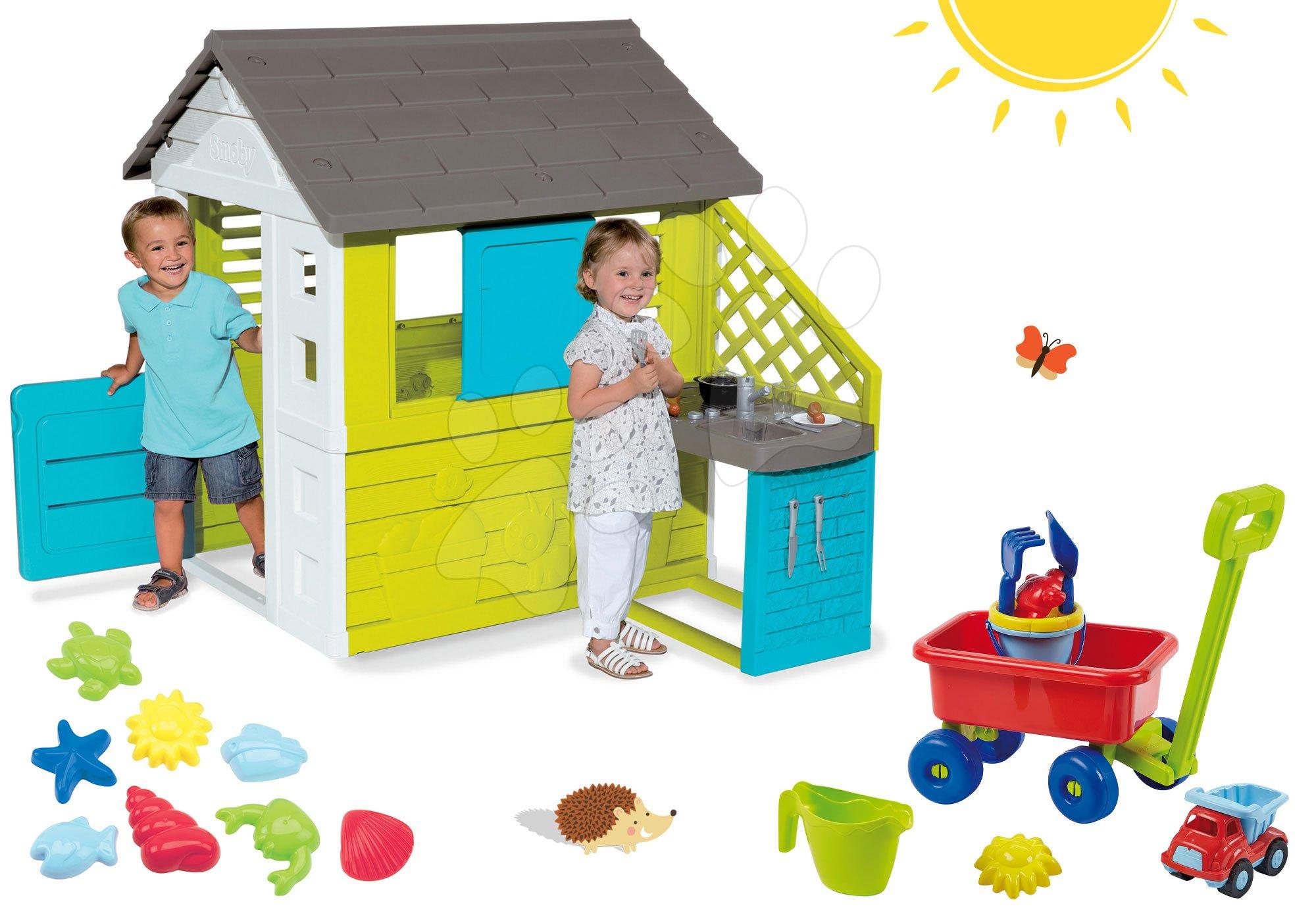 Smoby set domček Pretty Blue a Écoiffier vozík na ťahanie a formičky 810703-23
