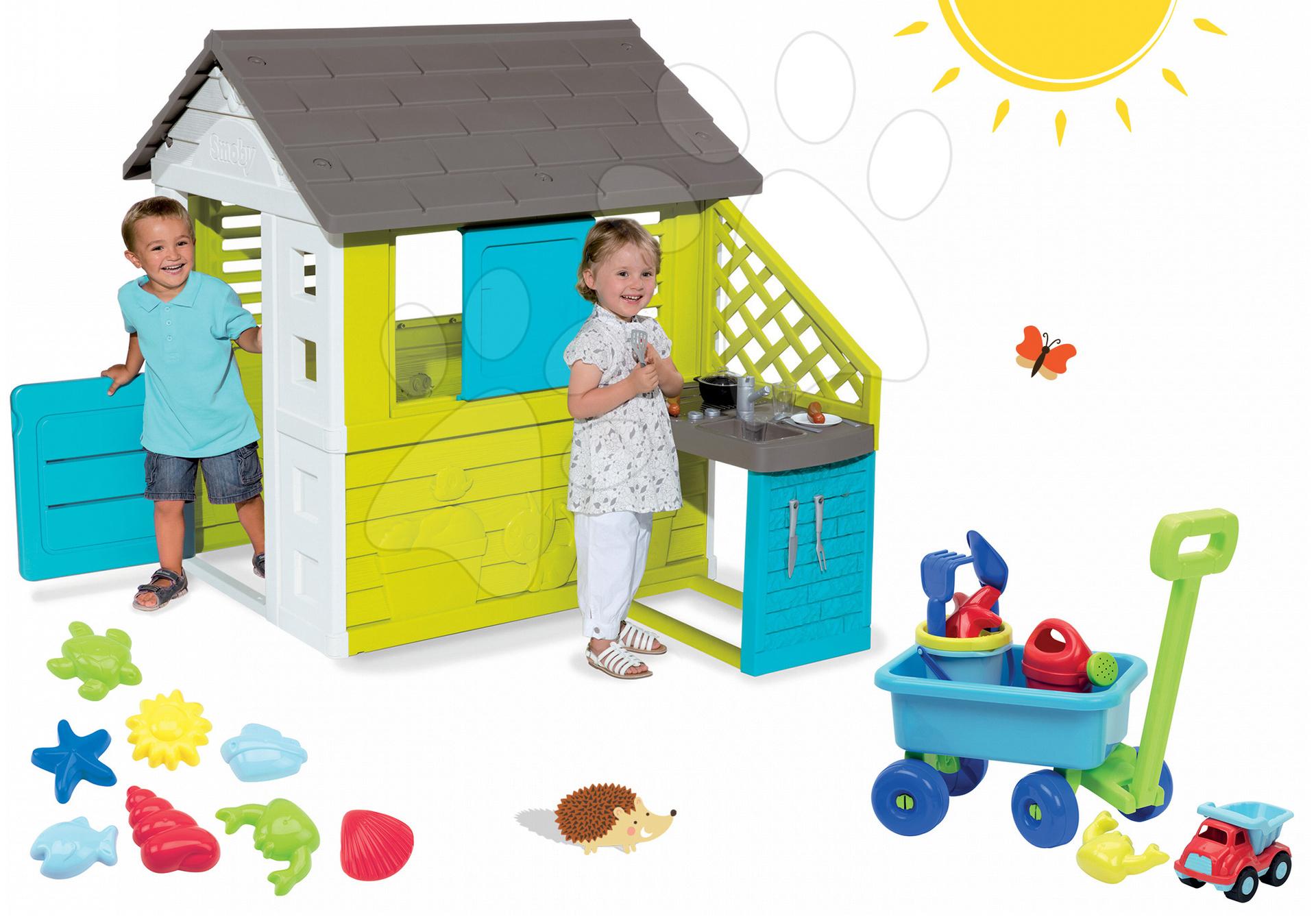Set domeček Pretty Blue Smoby s letní kuchyňkou, vozík, kbelík set a bábovičky od 24 měsíců