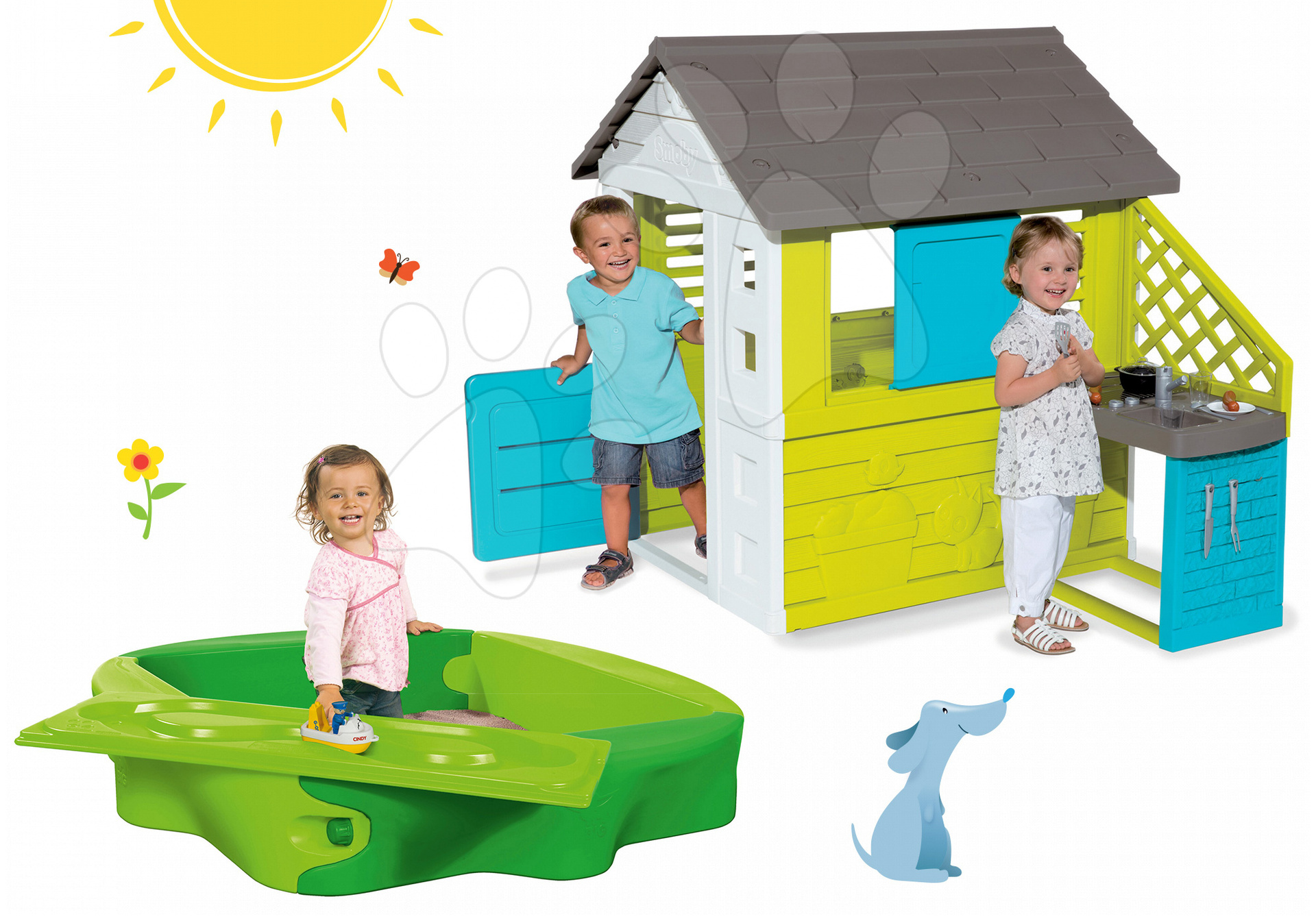 Smoby set domček Pretty Blue a BIG pieskovisko Sandy 810703-28