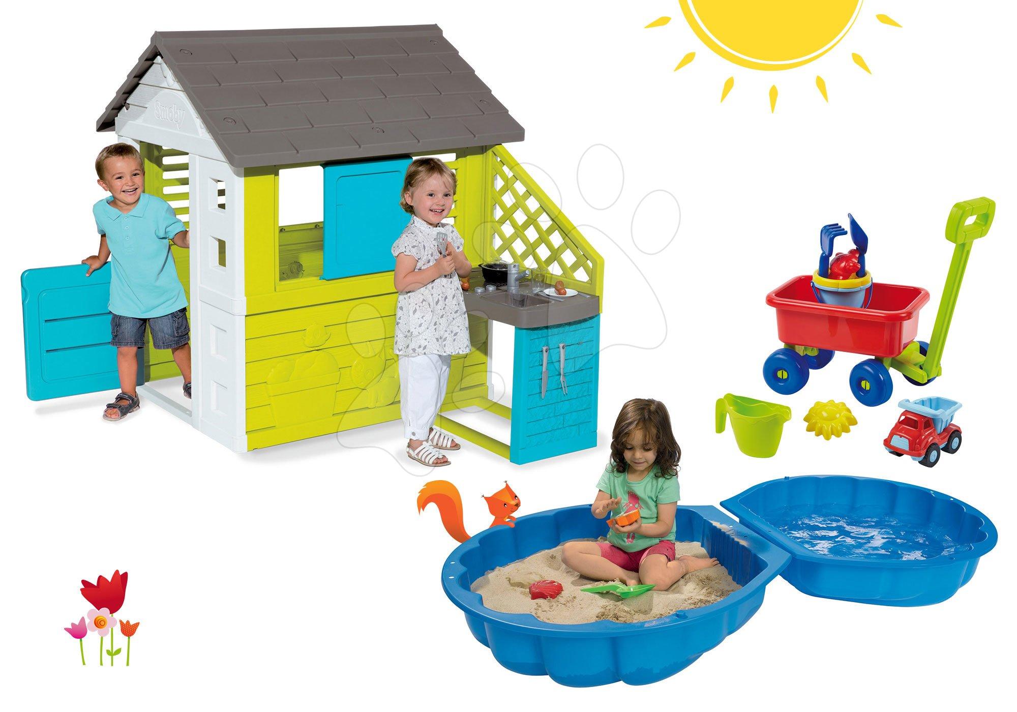 Smoby set domček Pretty Blue, pieskovisko Mušľa a Écoiffier vozík s vedro setom 810703-29