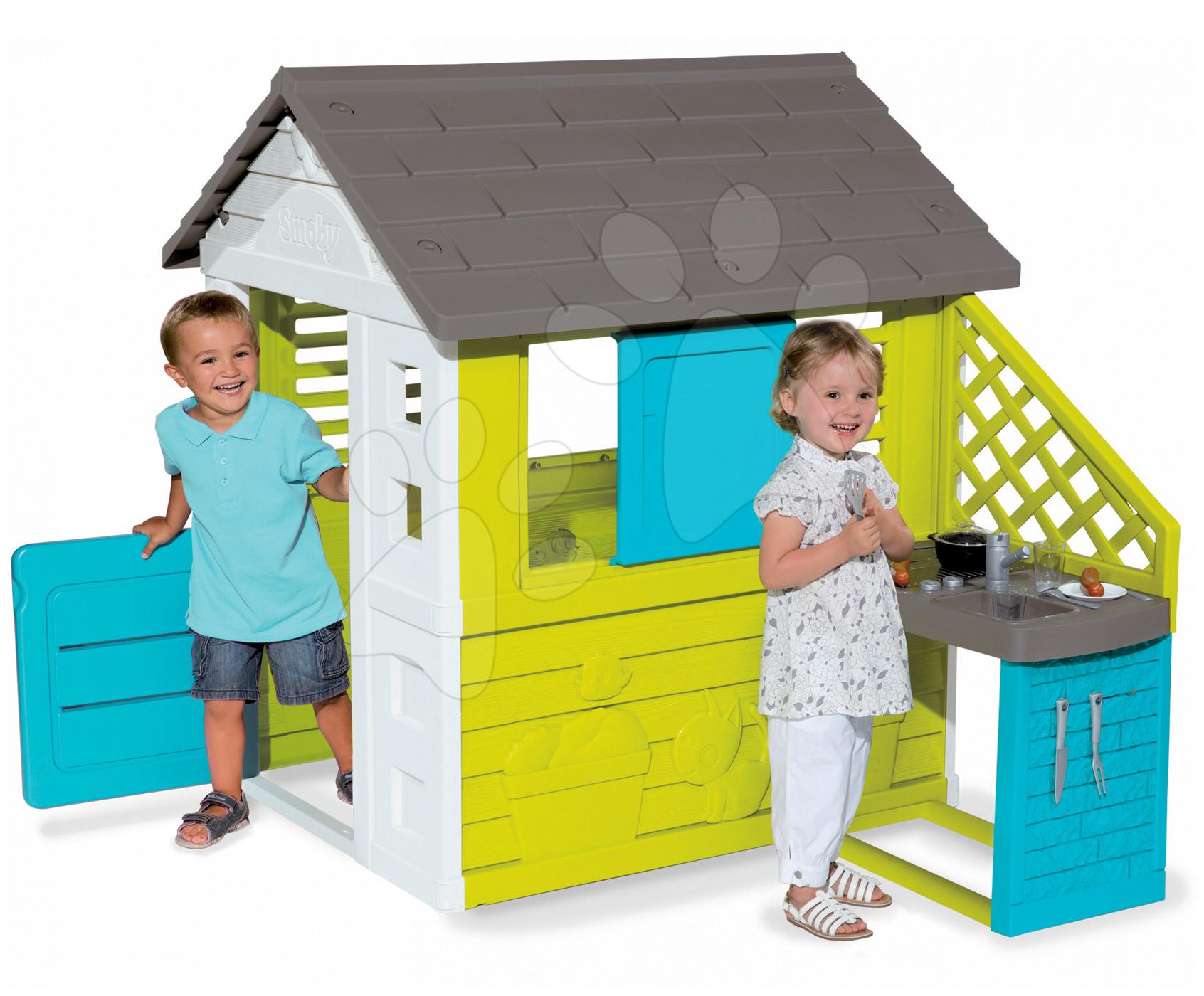 Domeček Pretty Blue Smoby s letní kuchyňkou a zasouvací okenicí od 24 měsíců