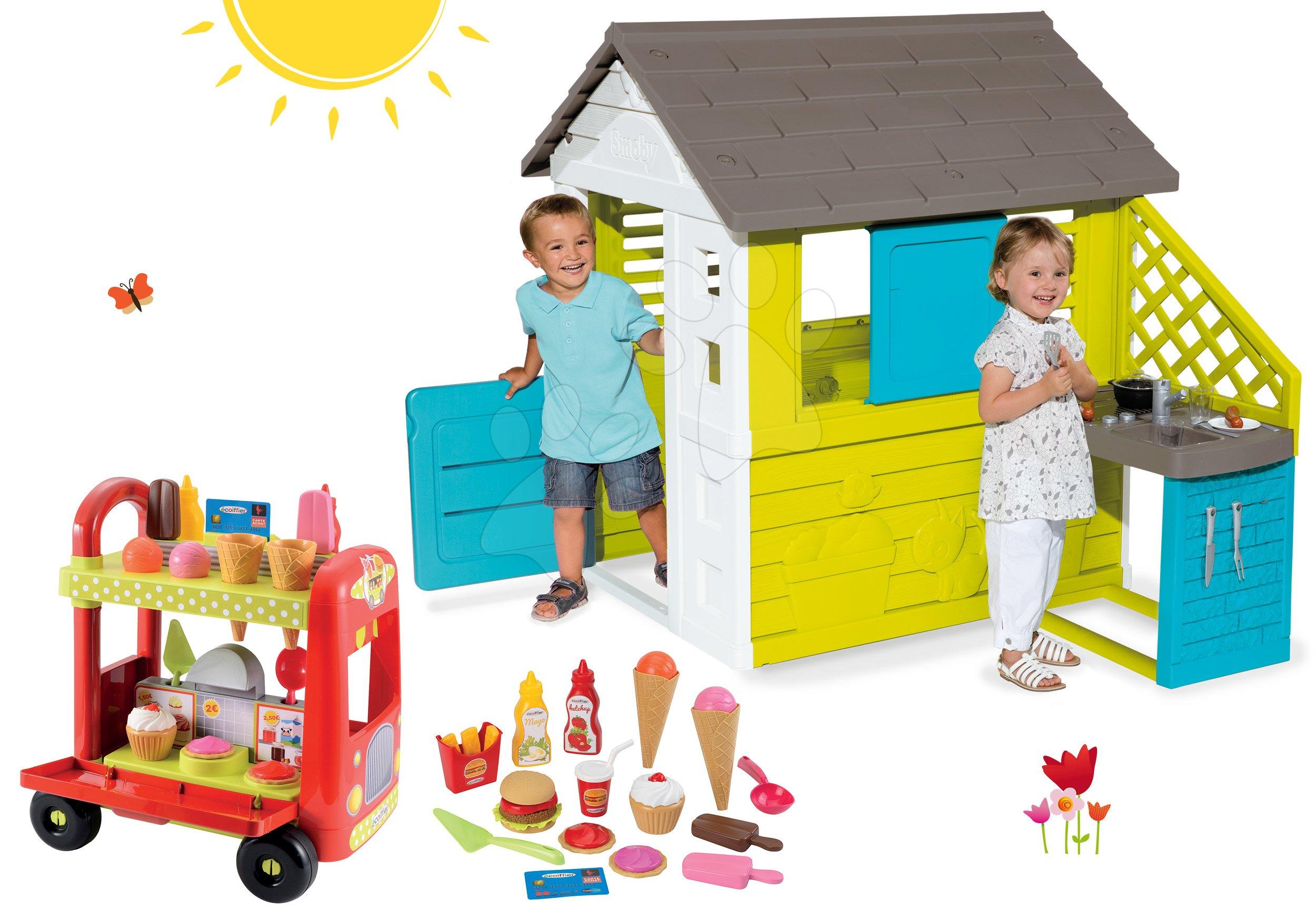 Set domeček Pretty Blue Smoby s letní kuchyňkou a vozík Délices s košíkem od 24 měsíců
