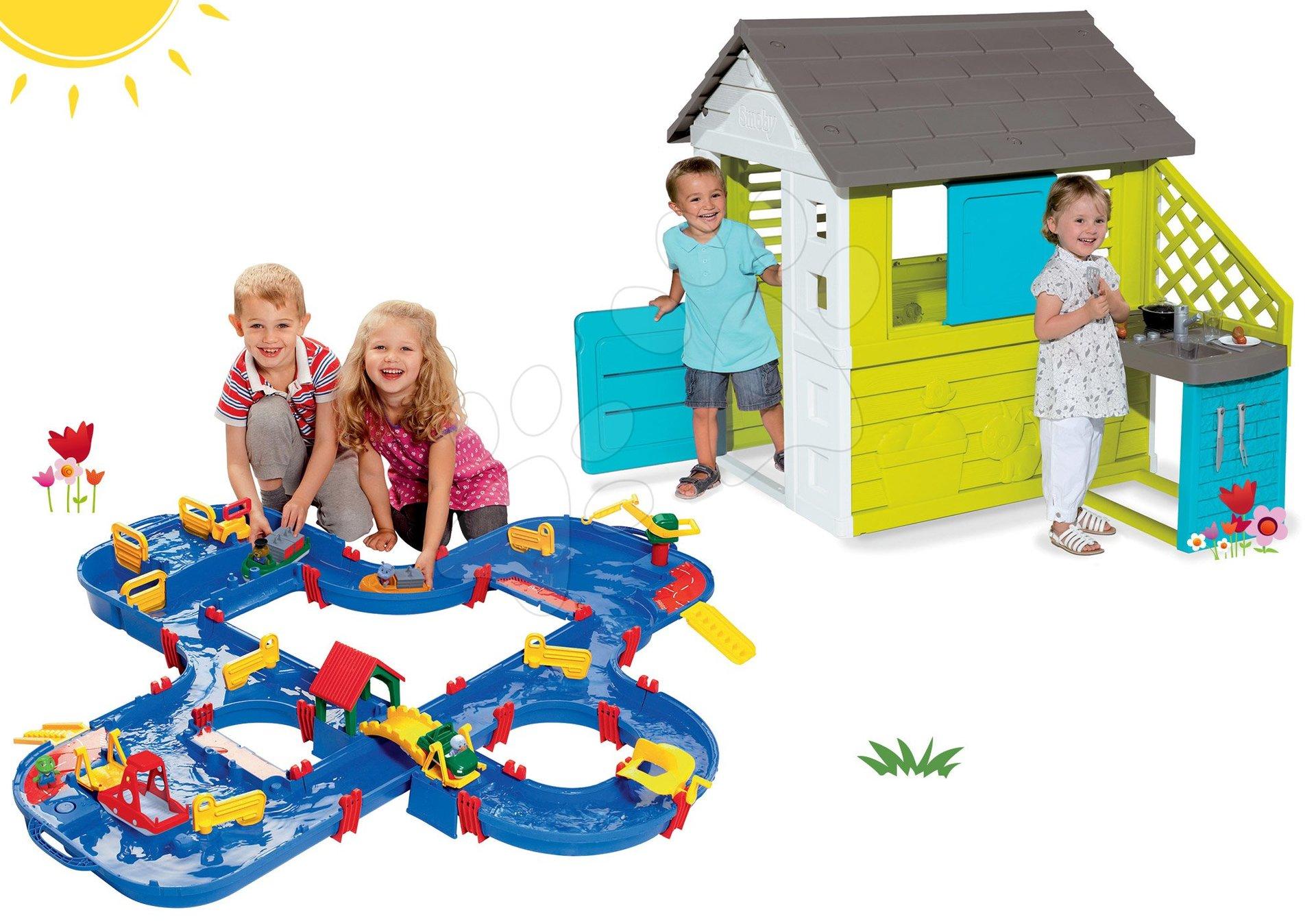 Set domeček Pretty Blue Smoby s letní kuchyňkou, vodní dráha Aquaplay 'n Go v kufříku od 24 měsíců