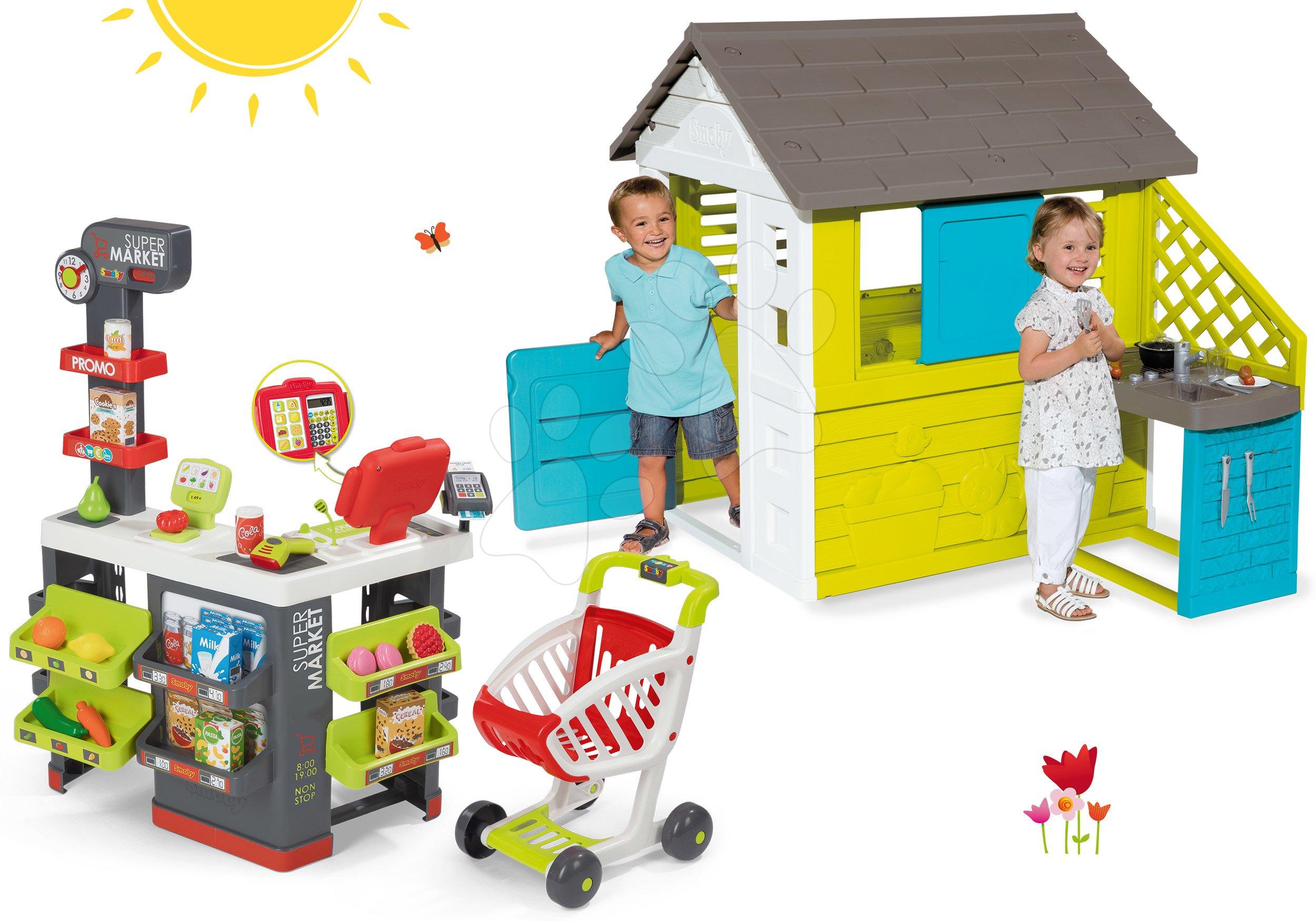 Domečky sety - Set domeček Pretty Blue Smoby s letní kuchyňkou a elektronický obchod Supermarket od 24 měsíců