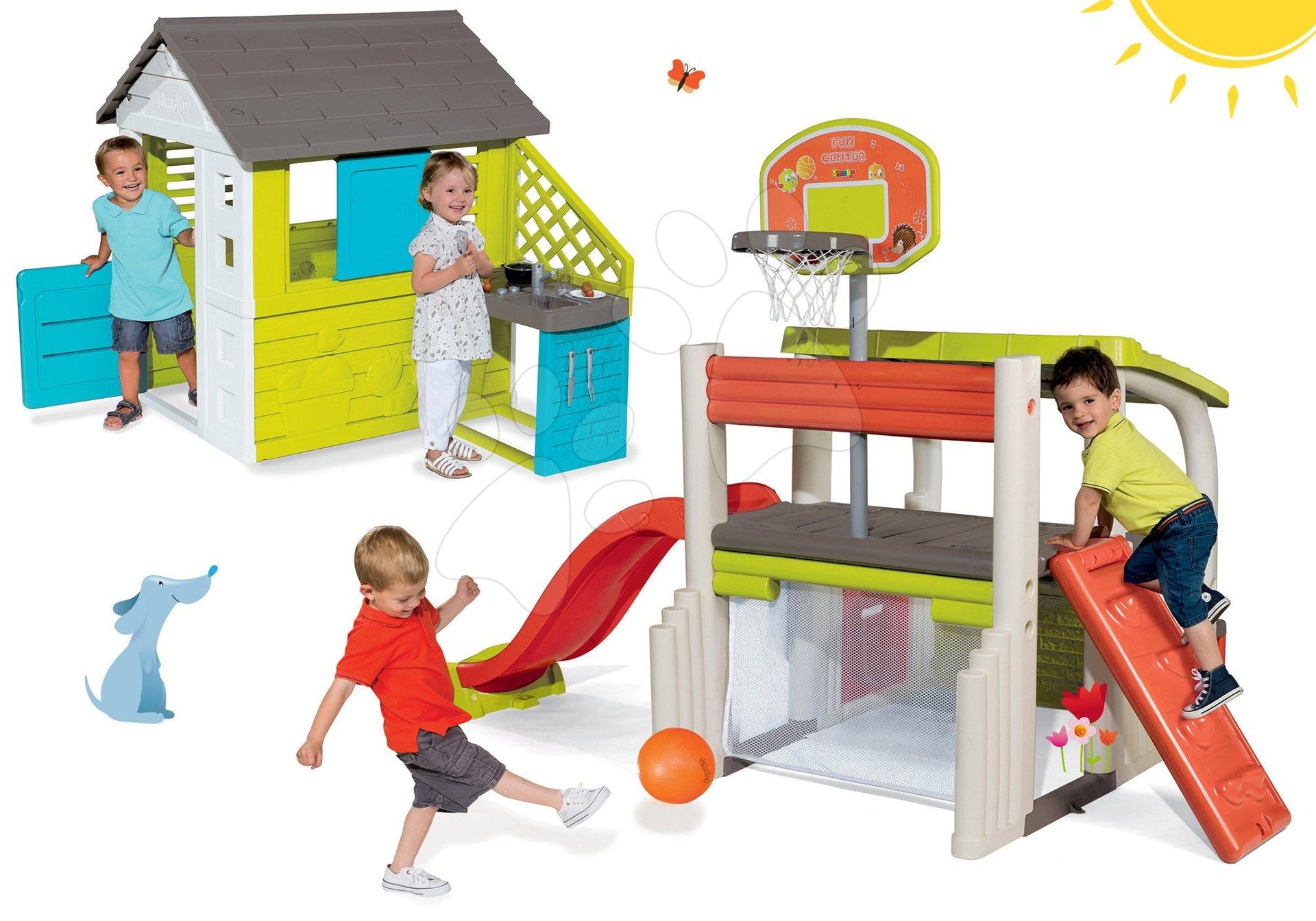 Set domček Pretty Blue Smoby s letnou kuchynkou a hracie centrum Fun Center so šmykľavkou od 24 mes