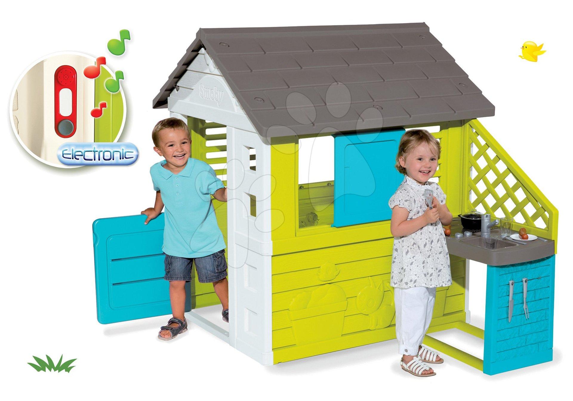 Smoby set detský domček Pretty Blue s letnou kuchynkou a elektronický zvonček darček 810703-33