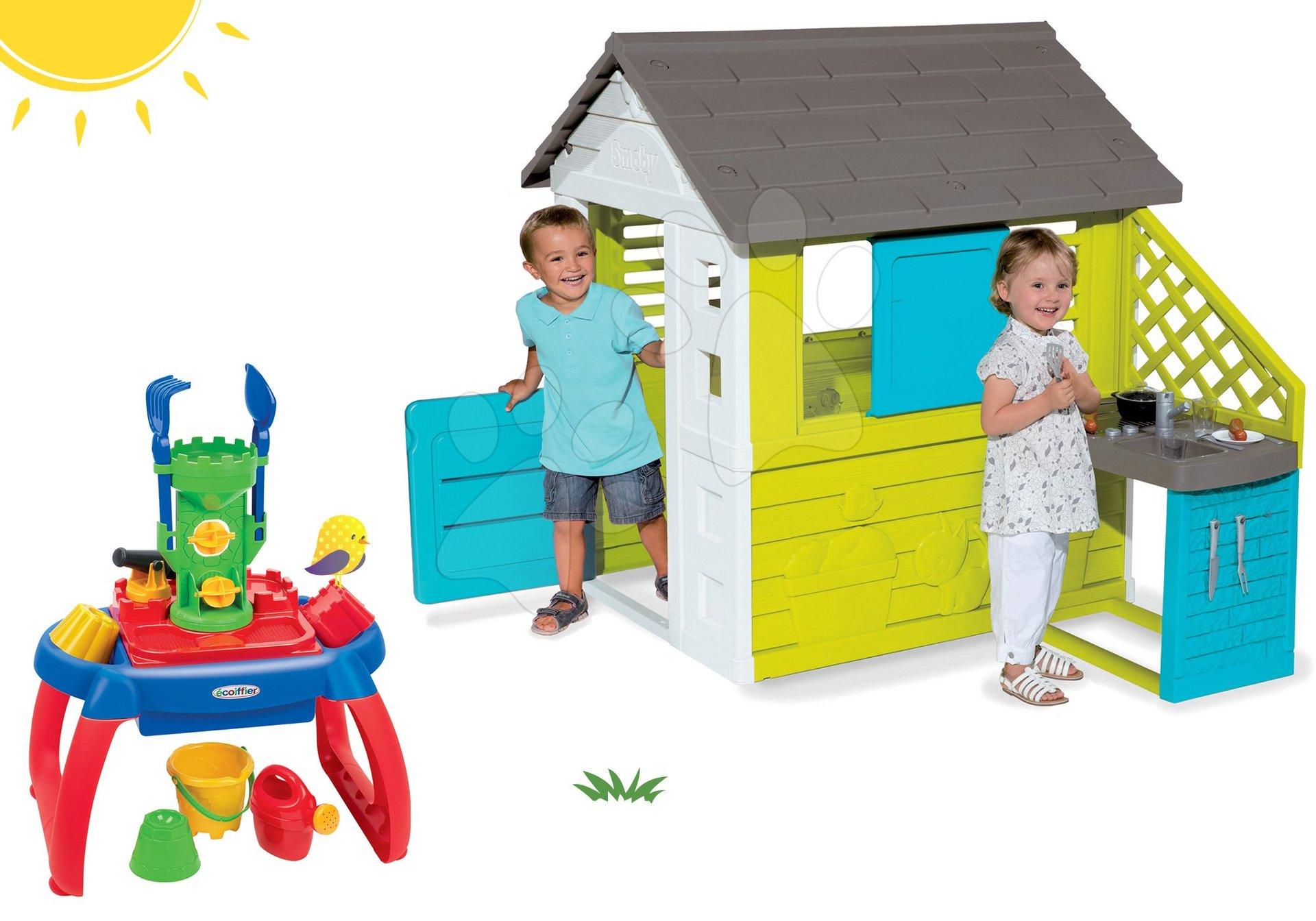 Smoby set detský domček Pretty Blue s letnou kuchynkou a pieskovisko stolík na vodu a piesok 810703-35