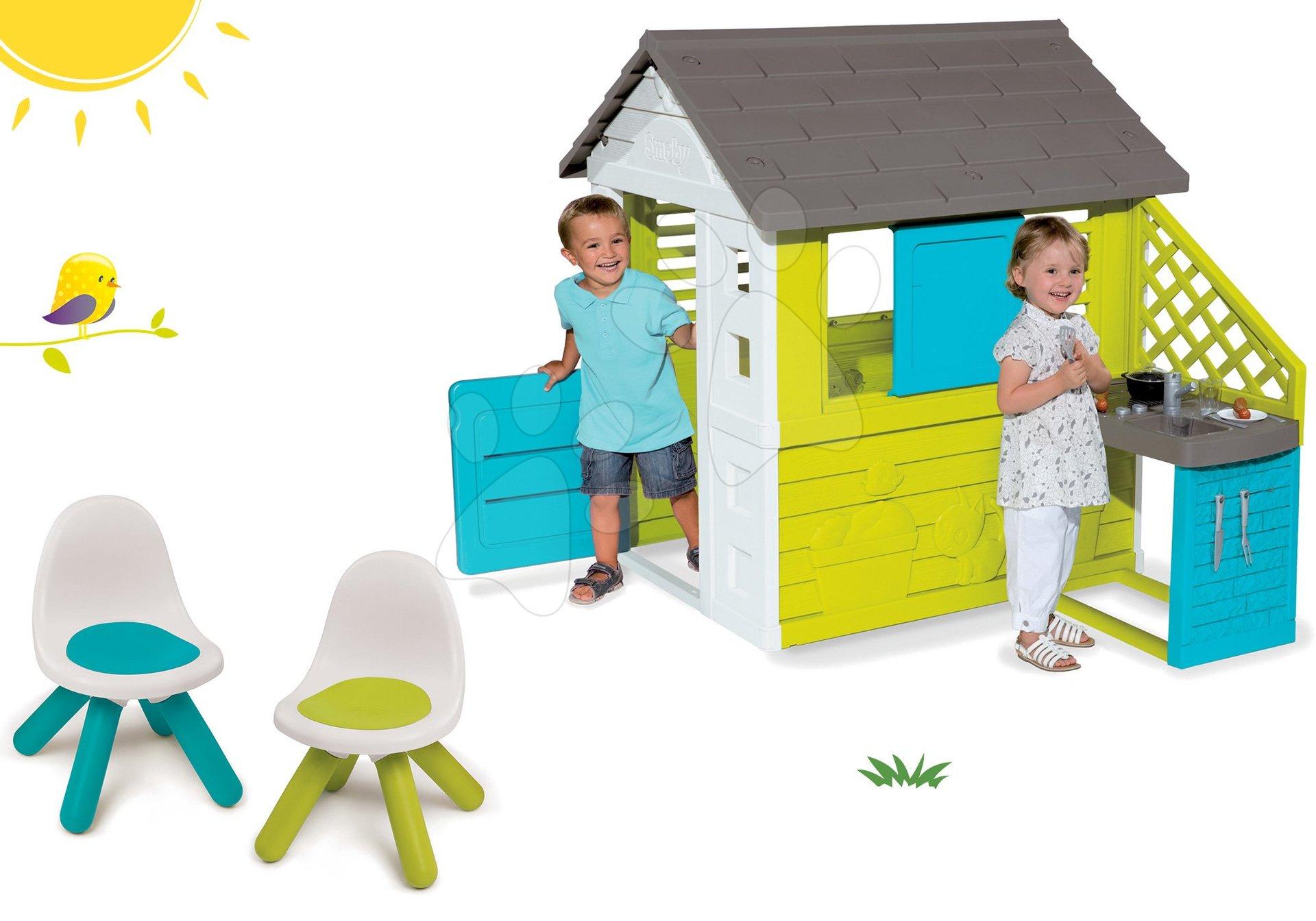 Smoby set detský domček Pretty Blue s letnou kuchynkou a stolička KidChair zelená a modrá 810703-36