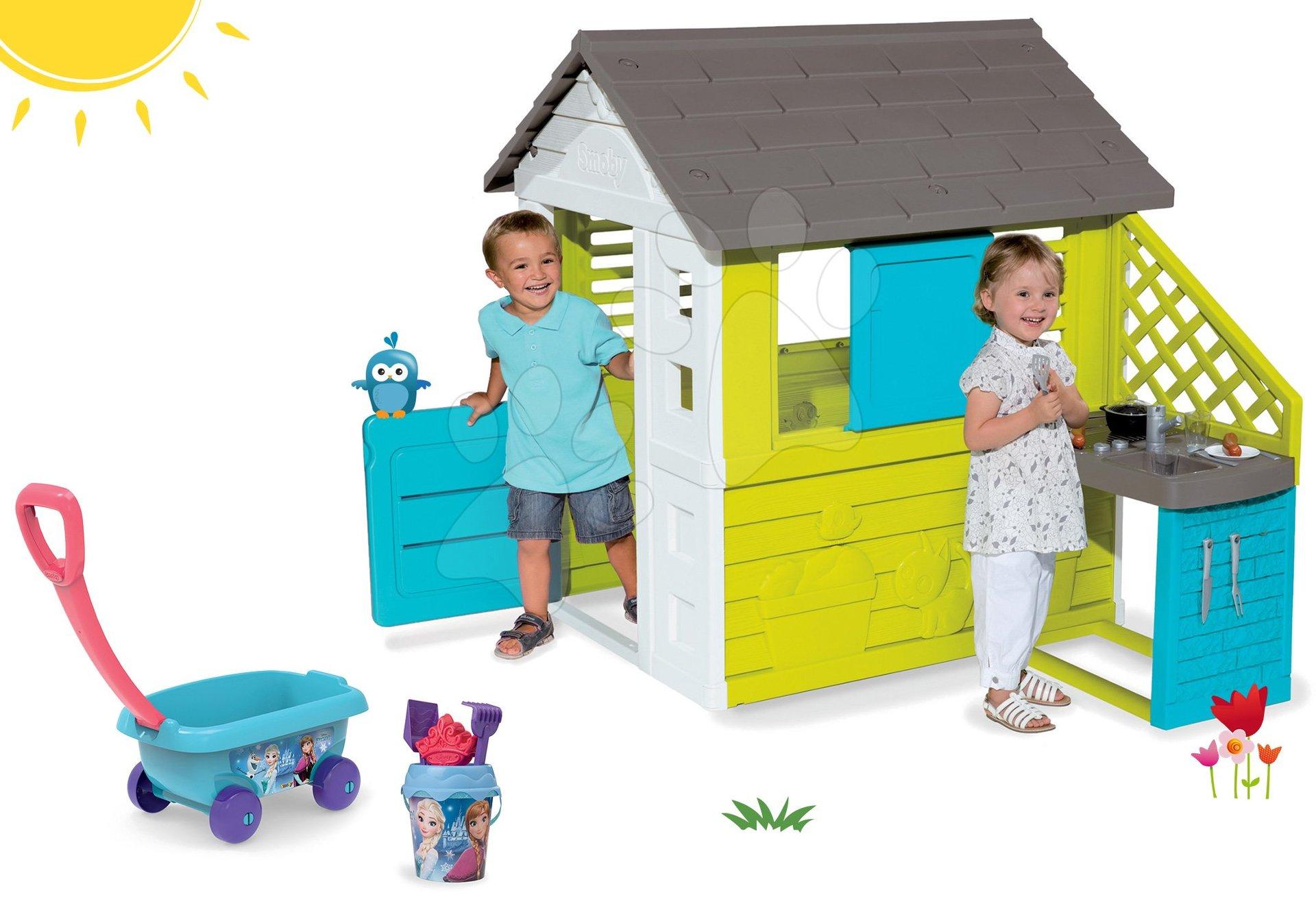 Smoby set detský domček Pretty Blue s letnou kuchynkou a vozíkom s vedro setom 810703-37