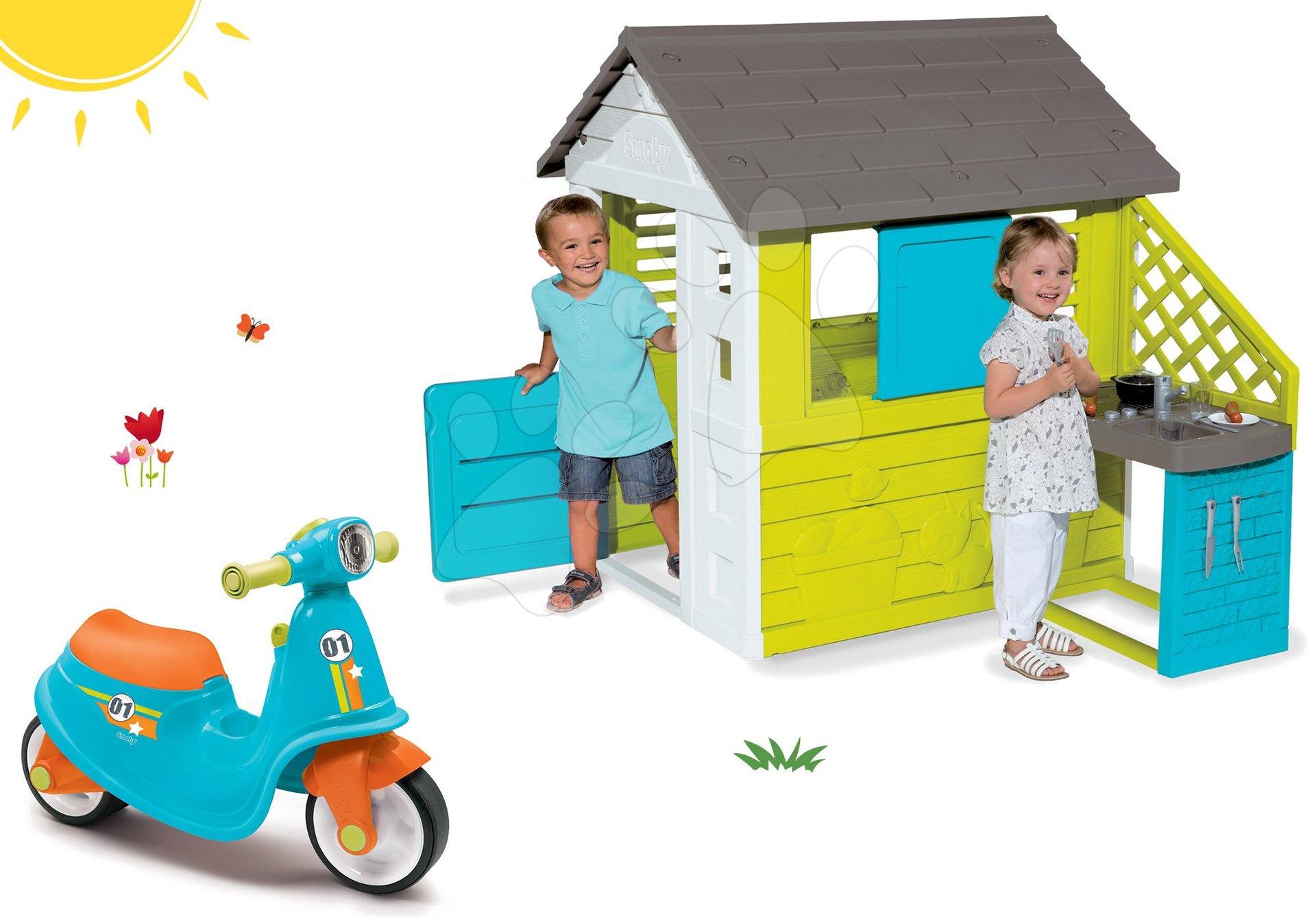 Smoby set detský domček Pretty Blue s letnou kuchynkou a odrážadlo Scooter Blue s gumenými kolesami 810703-38