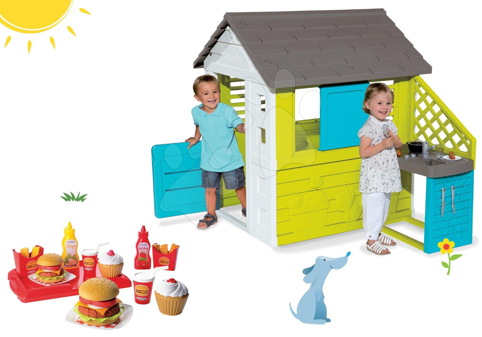 Smoby set detský domček Pretty Blue s letnou kuchynkou a hamburger s kečupom a doplnkami 810703-39