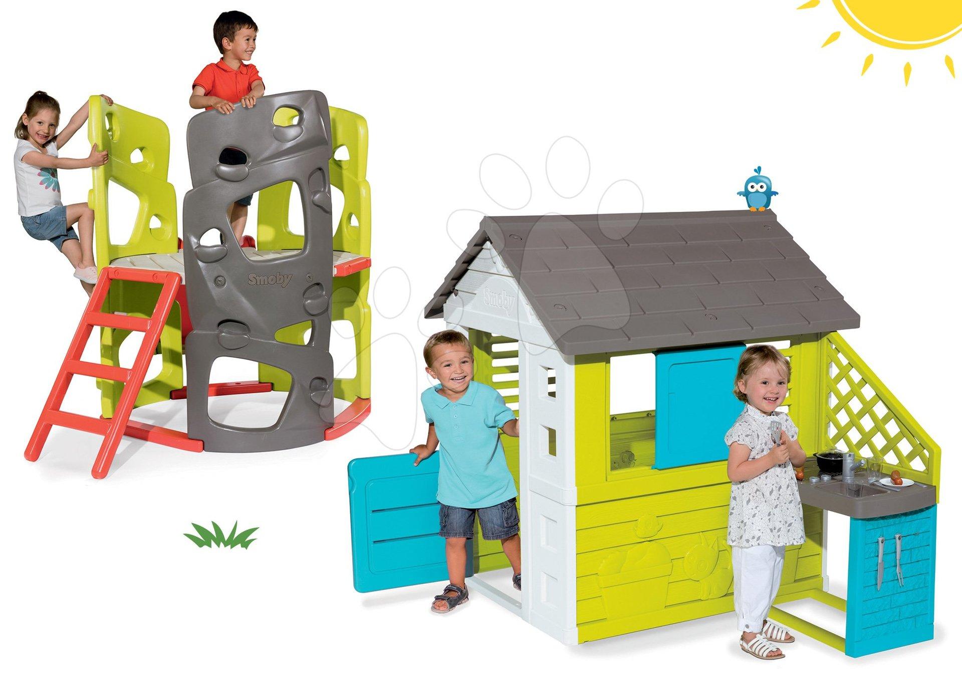 Set domeček Pretty Blue Smoby s letní kuchyňkou a prolézačka Multiactivity Climbing Tower od 24 měsíců