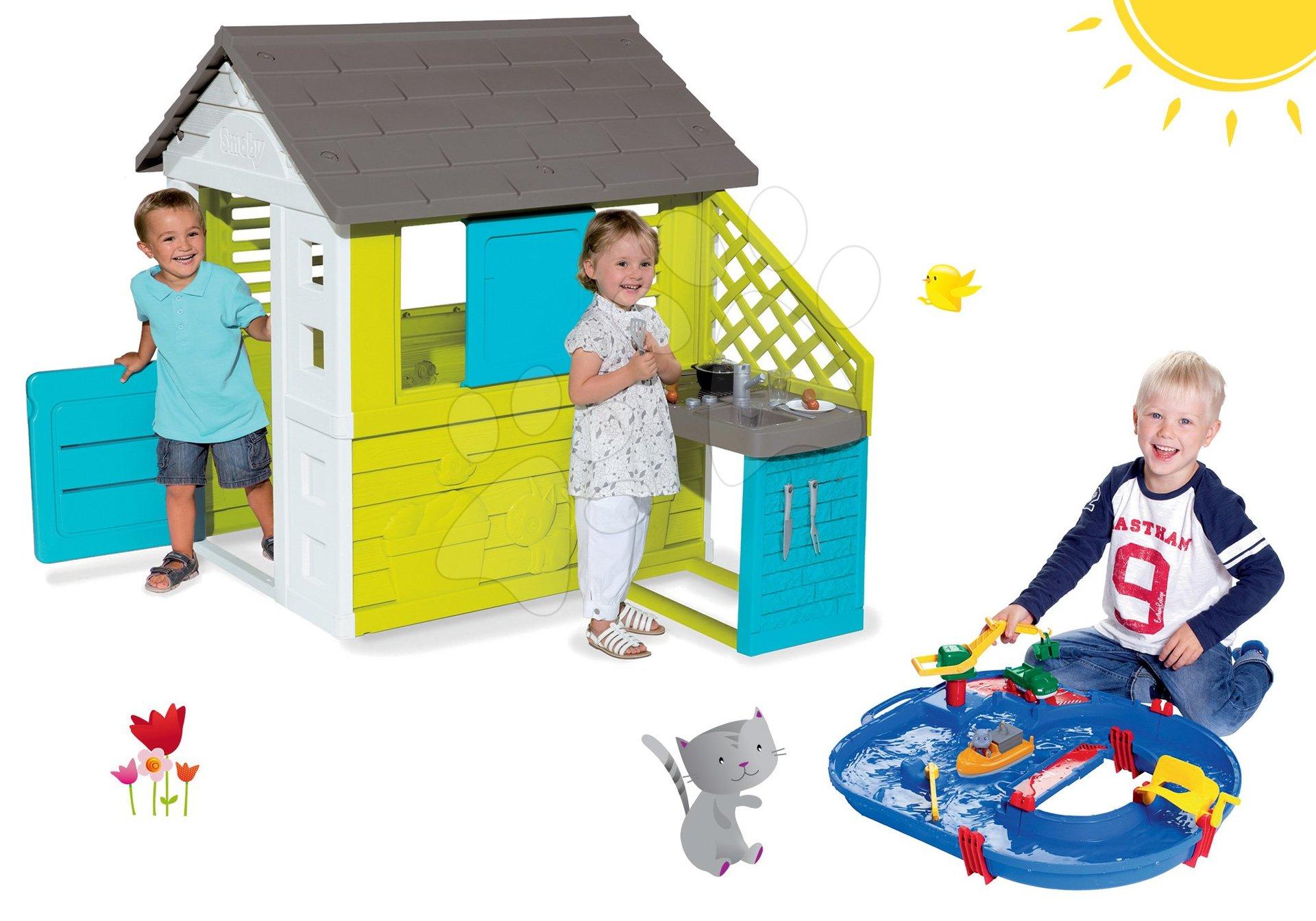 Smoby set dětský domeček Pretty Blue s letní kuchyňkou a vodní dráha Start Set s lodí 810703-42