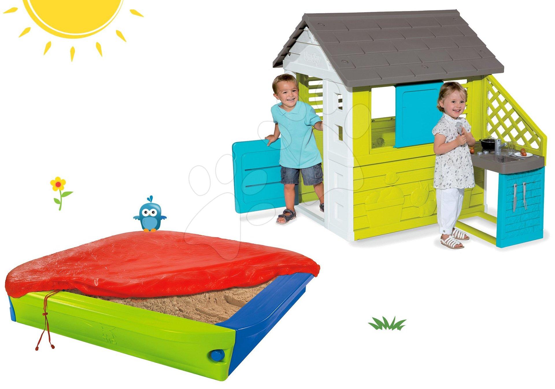 Smoby set dětský domeček Pretty Blue Smoby s letní kuchyňkou a pískoviště s krycí plachtou 810703-44 Set Smoby Pretty Blue a pískoviště BIG