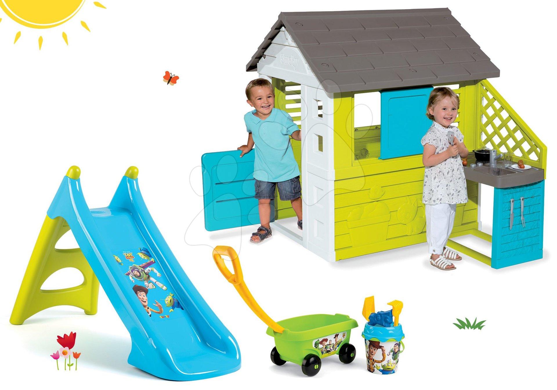 Domčeky so šmykľavkou - Set domček Pretty Blue Smoby s letnou kuchynkou a šmykľavka Toy Story Toboggan XS s vozíkom od 24 mes