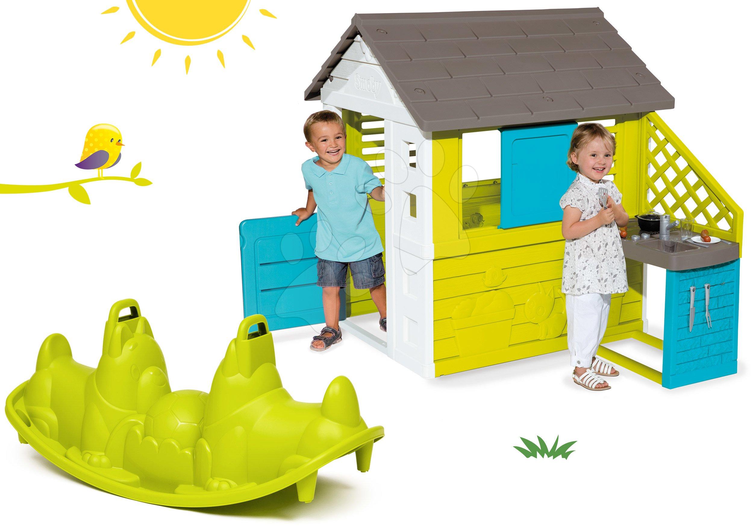 Set domeček Pretty Blue Smoby s letní kuchyňkou a houpačka Pes od 24 měsíců
