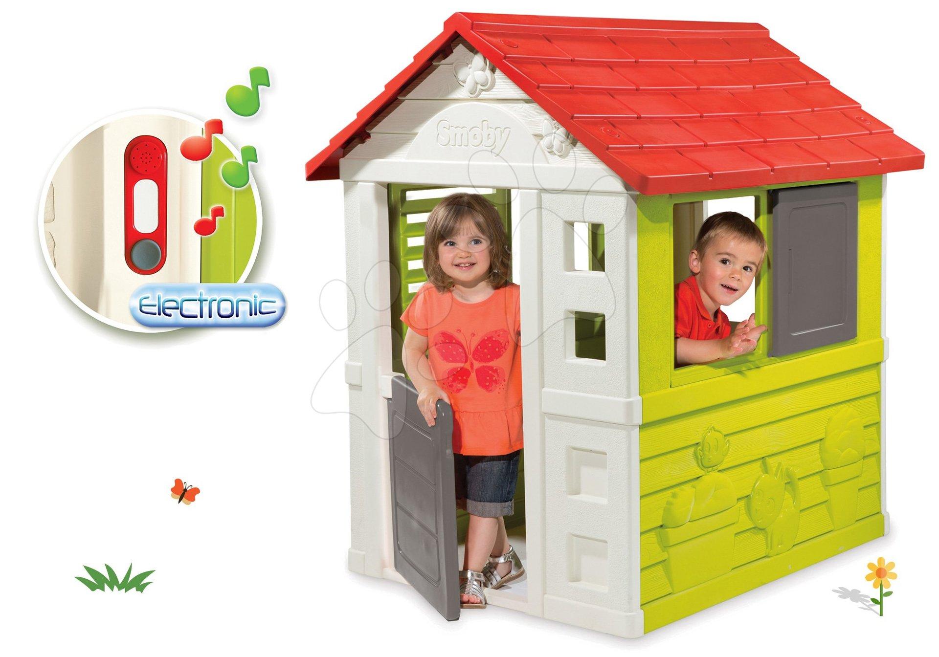 Smoby set domček Nature so zasúvacou okenicou a darček elektronický zvonček 810704-10