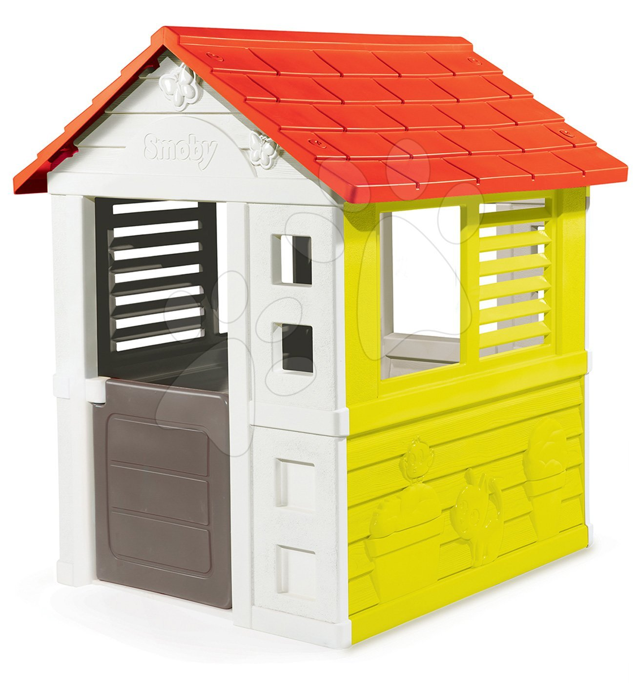 Házikó Lovely Smoby pirosas-zöld 3 ablakkal és 2 árnyékolóval UV védelemmel 2 évtől