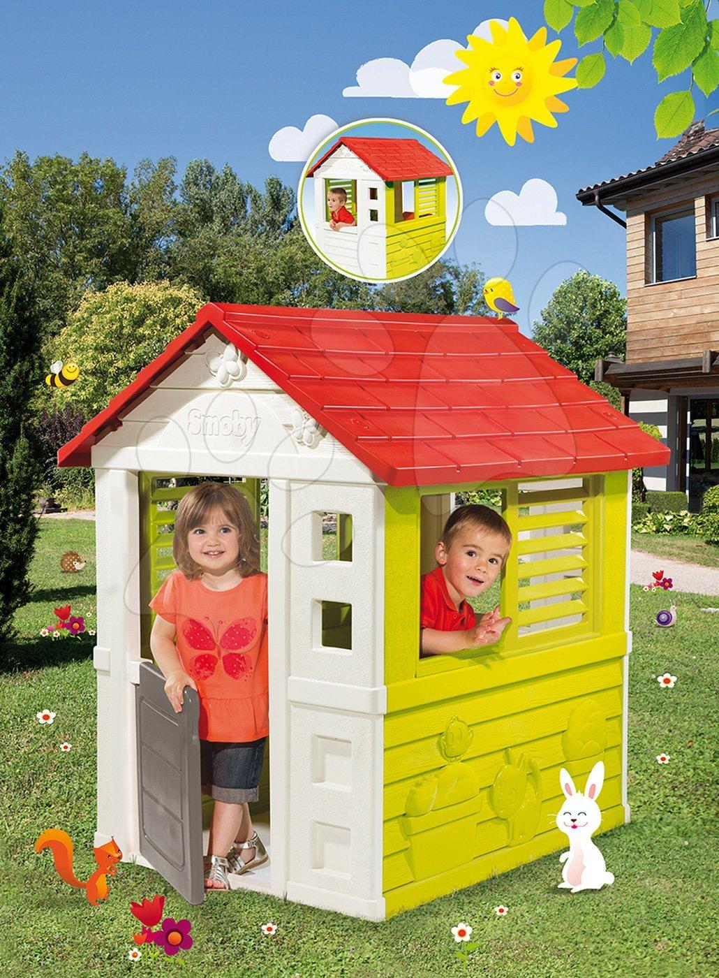 Smoby domček Lovely červeno-zelený s 3 oknami a 2 žalúziami, s UV filtrom 810705