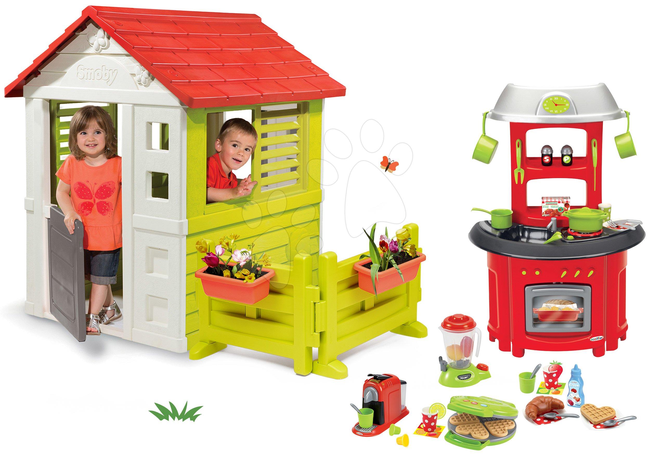 Set domček Lovely Smoby s kuchynkou v záhradke a vaflovač s kávovarom a potravinami