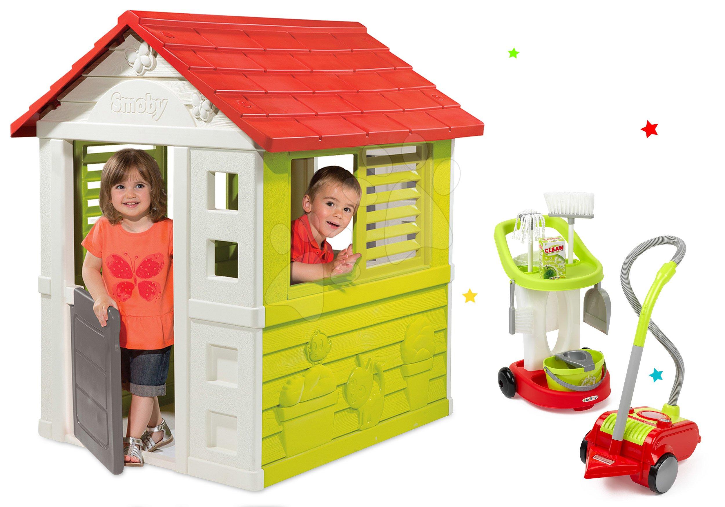 Set domeček Lovely Smoby s úklidovým vozíkem a vysavačem