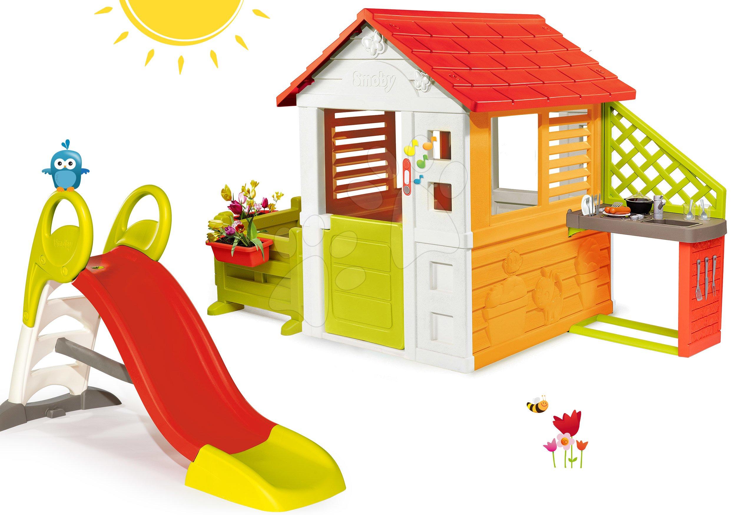 Set domeček Sluníčko Sunny Smoby s kuchyňkou a zahrádka se skluzavkou