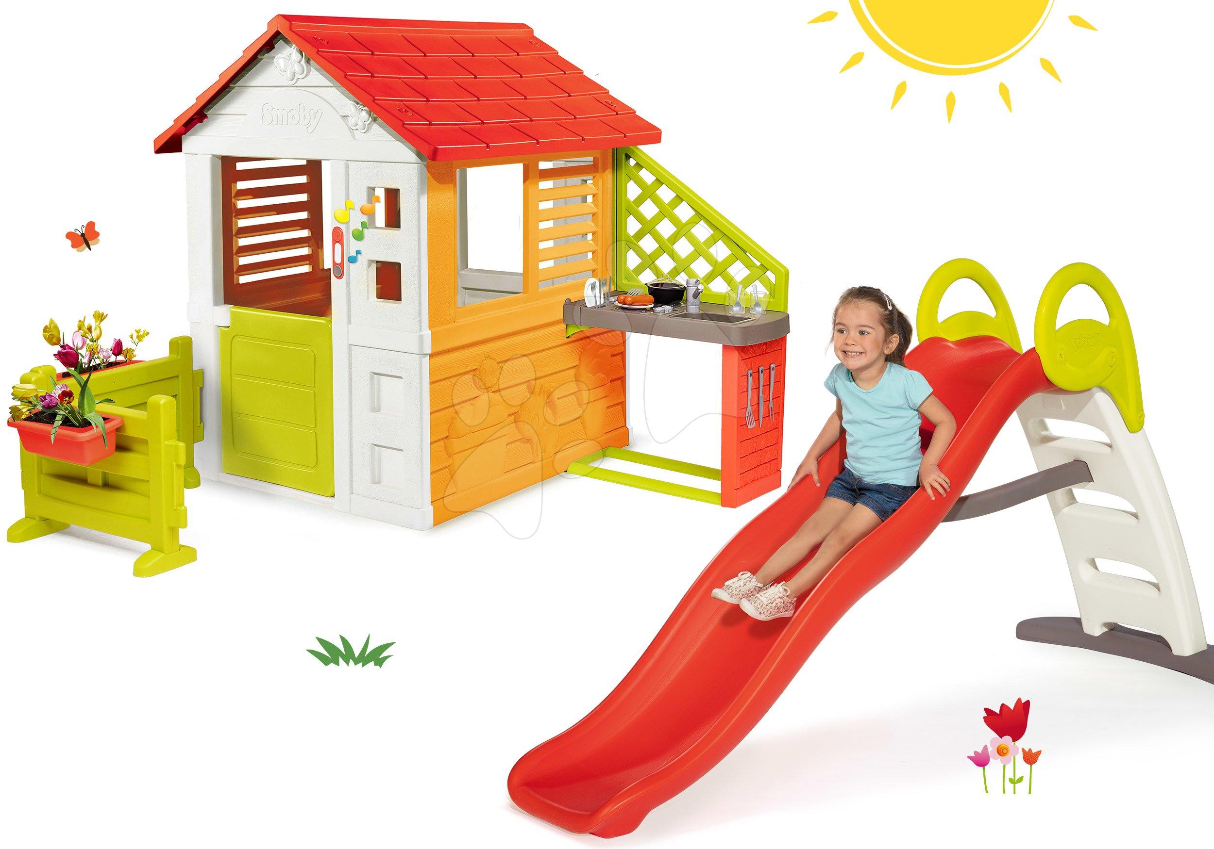 Set domeček Sluníčko Sunny Smoby s kuchyňkou a zahrádka s 2metrovou skluzavkou