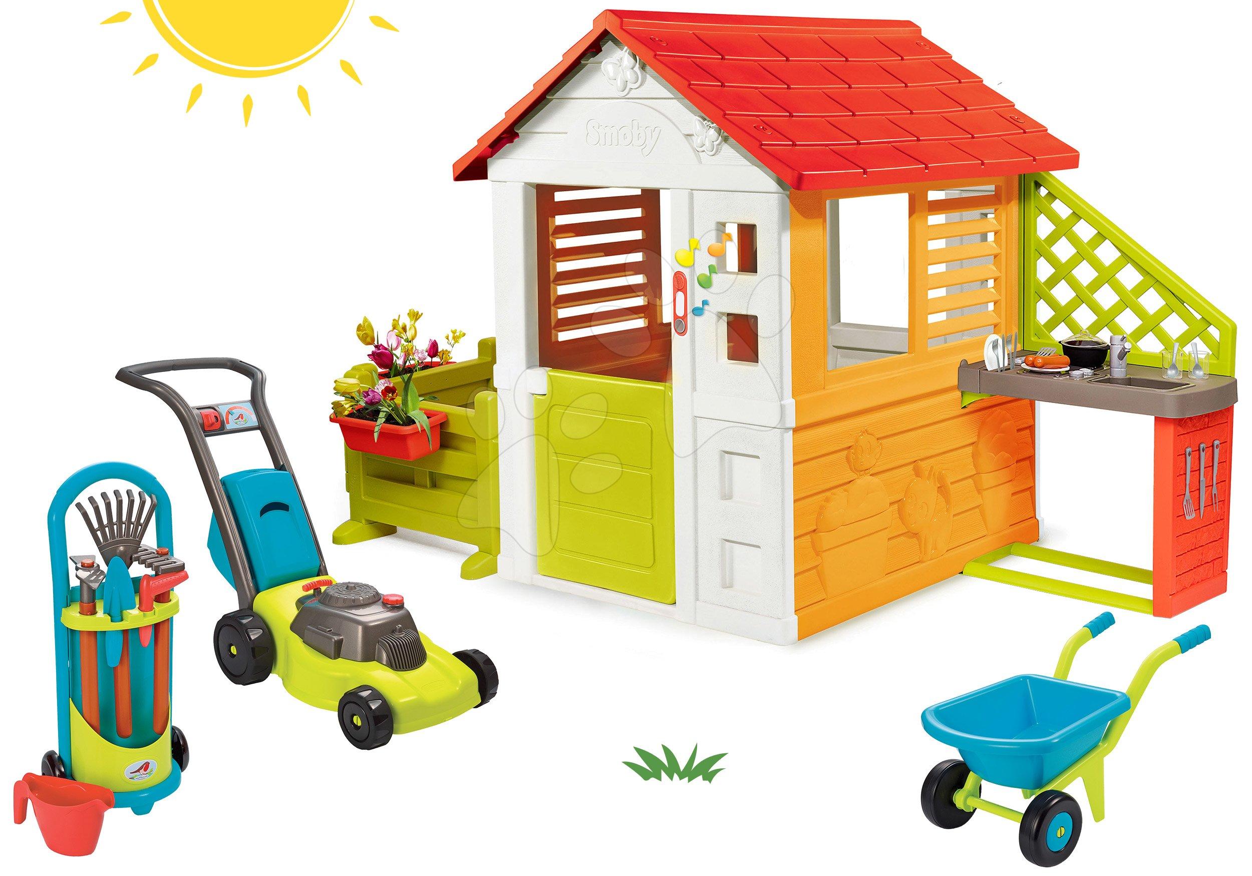 Set domček Slniečko Sunny Smoby s kuchynkou a záhradka s pracovným náradím