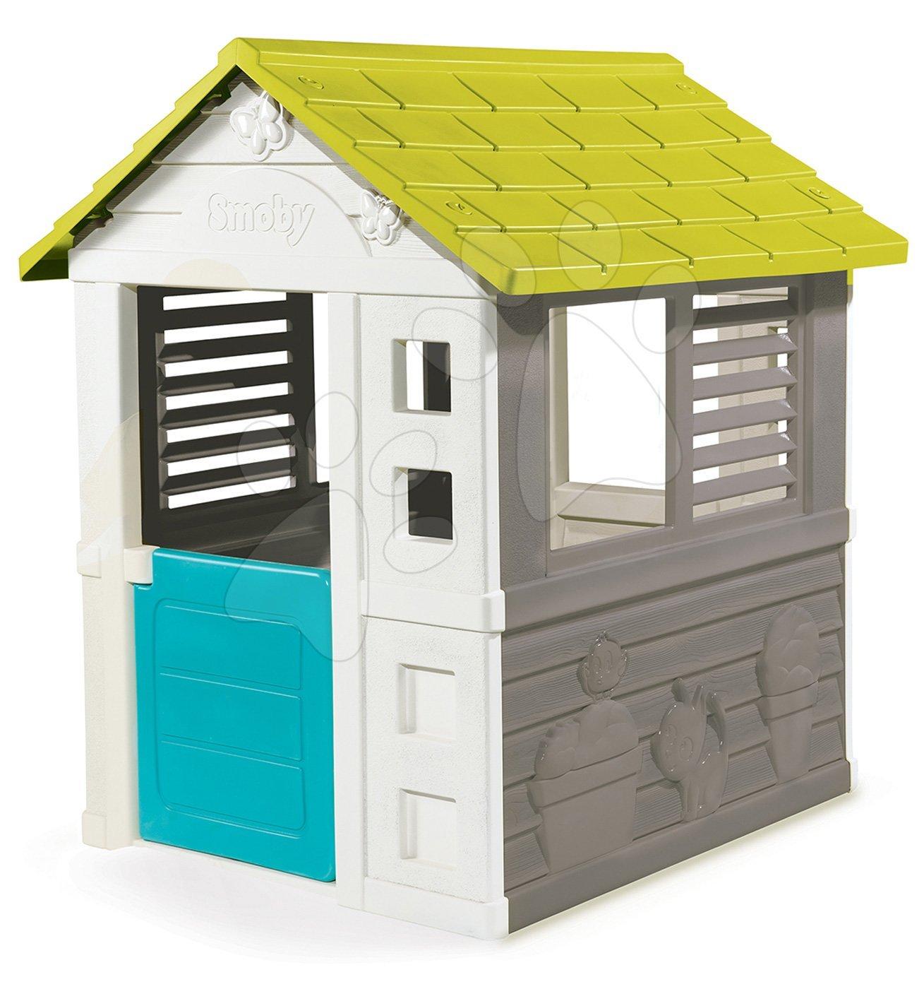 Hišica Jolie Smoby modro-siva s 3 okni in 2 žaluzijami z UV filtrom od 2 leta