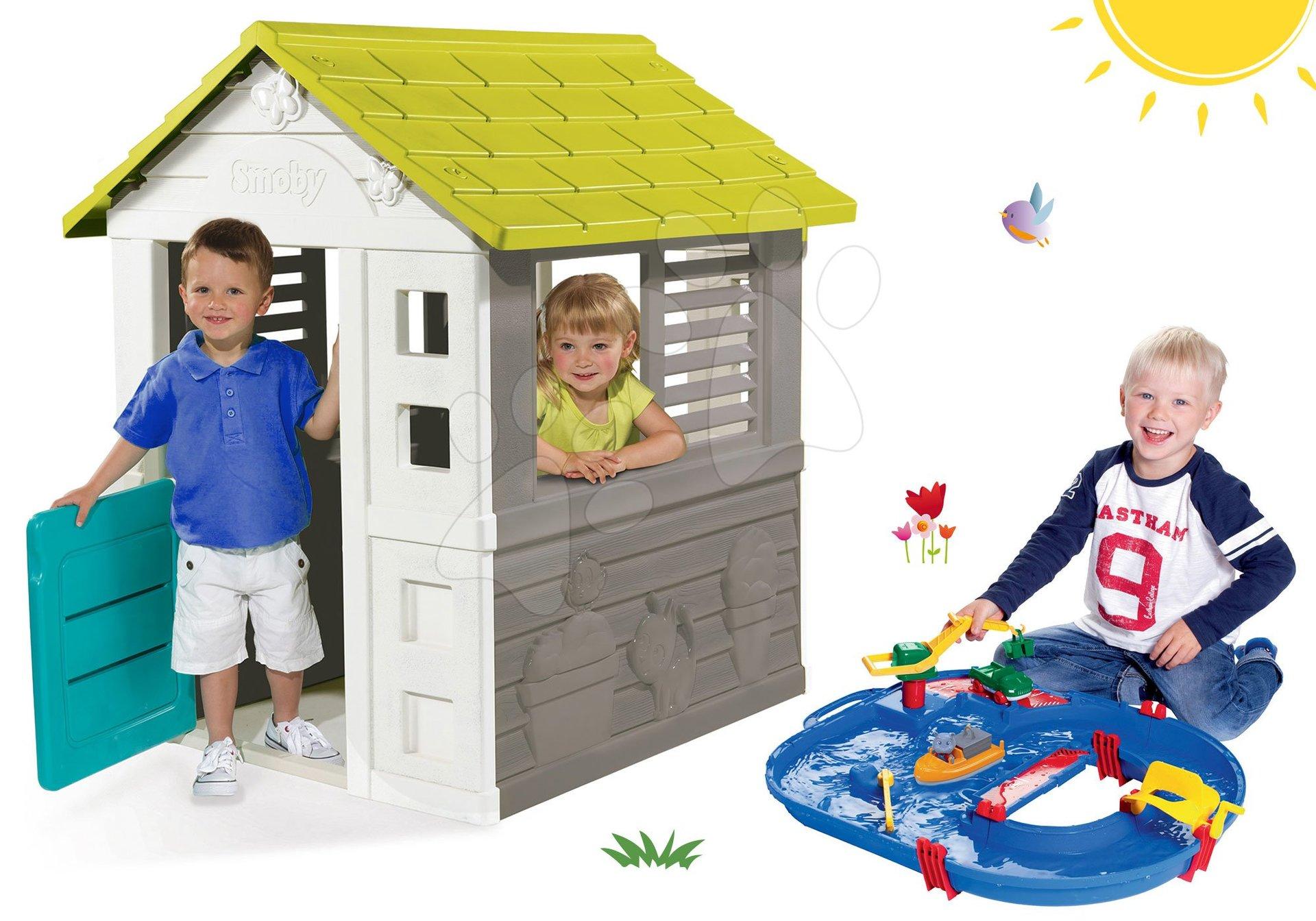 Set domček Jolie Smoby modrý s 3 oknami a 2 žalúziami a vodná dráha AquaPlay od 24 mes
