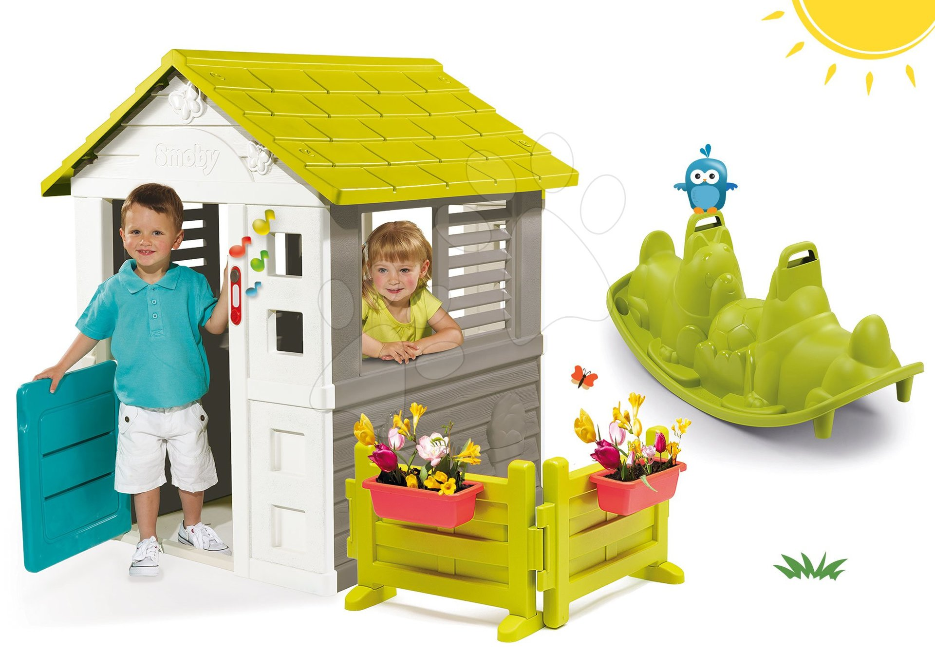Set domček Jolie Smoby modrý s 3 oknami a 2 žalúziami so záhradkou a zvončekom a hojdačka obojstranná Pes od 24 mes