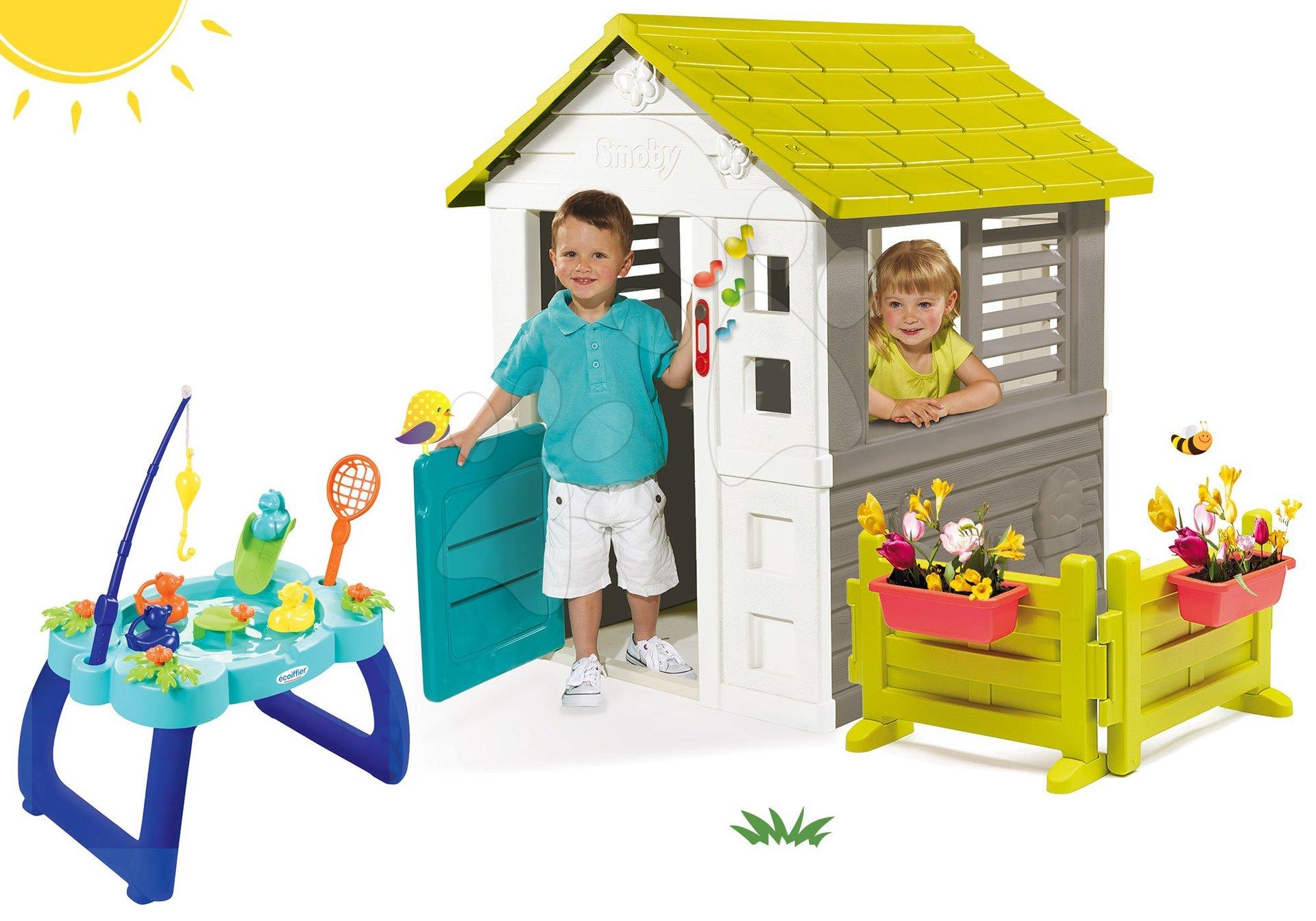 Set domček Jolie Smoby modrý s 3 oknami a 2 žalúziami so záhradkou a zvončekom a rybársky stolík s udicou a sieťkou od 24 mes