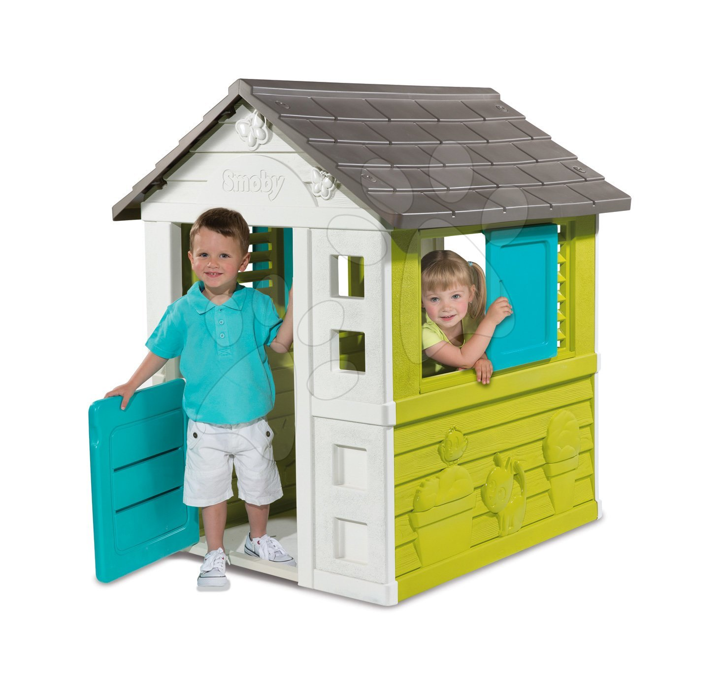 Hiška Pretty Blue Smoby modro-zelena z UV filtrom, 3 okni, 2 žaluziji in 2 premični naoknici od 2 leta