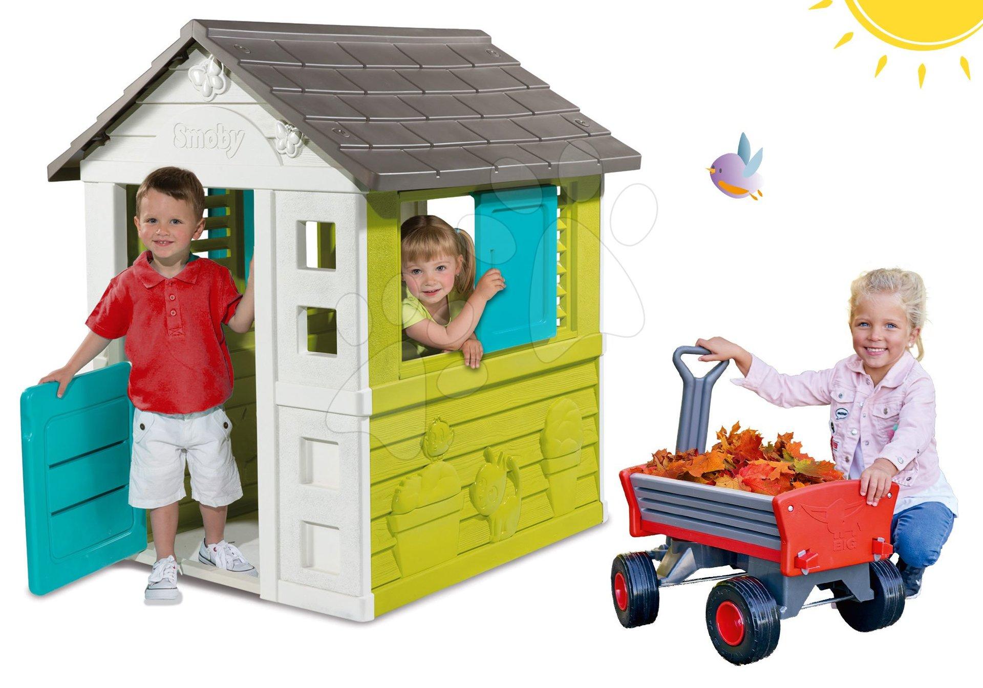Set domček Pretty Blue Smoby so zasúvacou okenicou a vozík na ťahanie Peppy Handwagen s otočnými kolesami od 24 mes