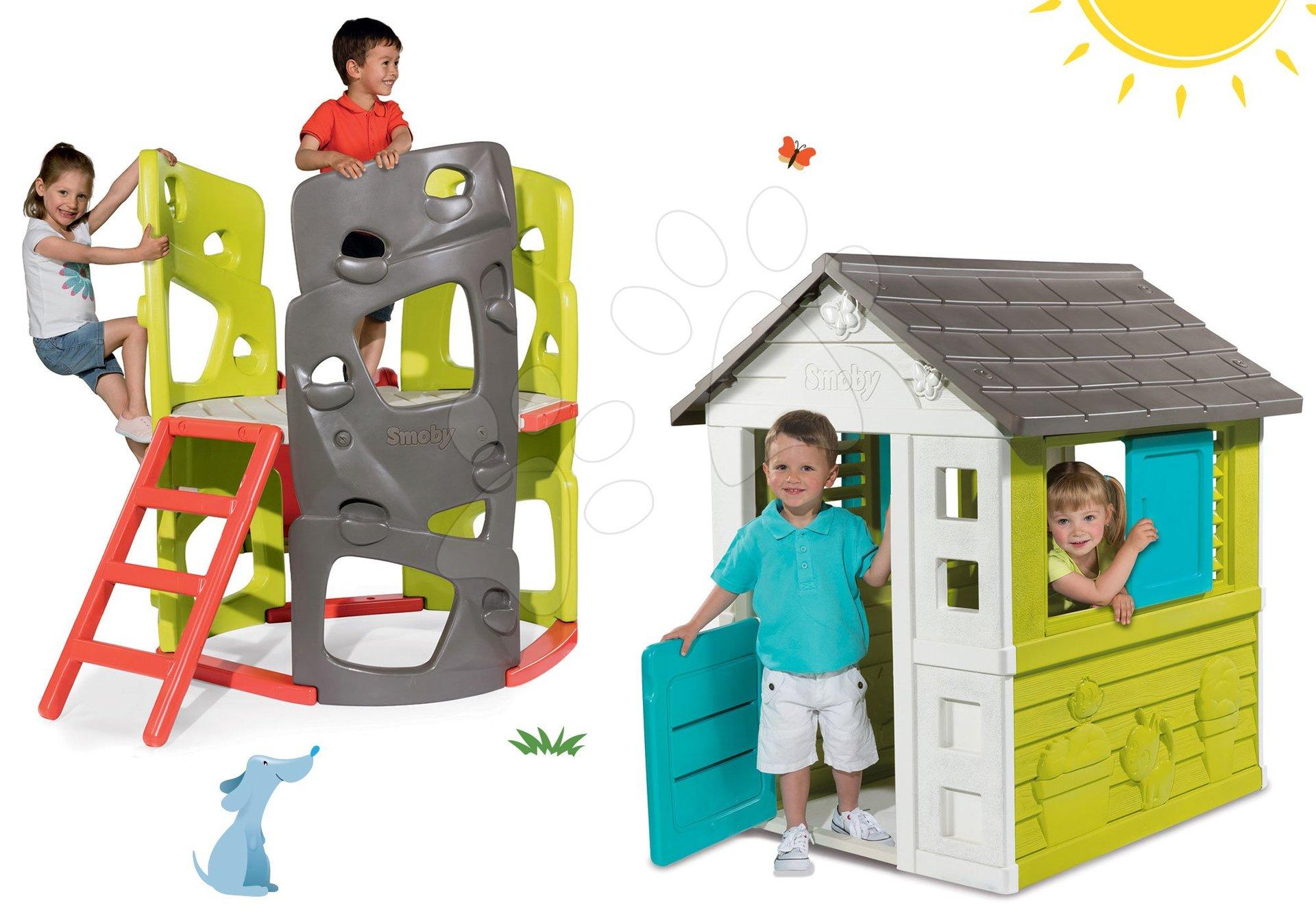 Domčeky s preliezačkou - Set domček Pretty Blue Smoby so zasúvacou okenicou a preliezačka Multiactivity Climbing Tower so šmykľavkou od 24 mes