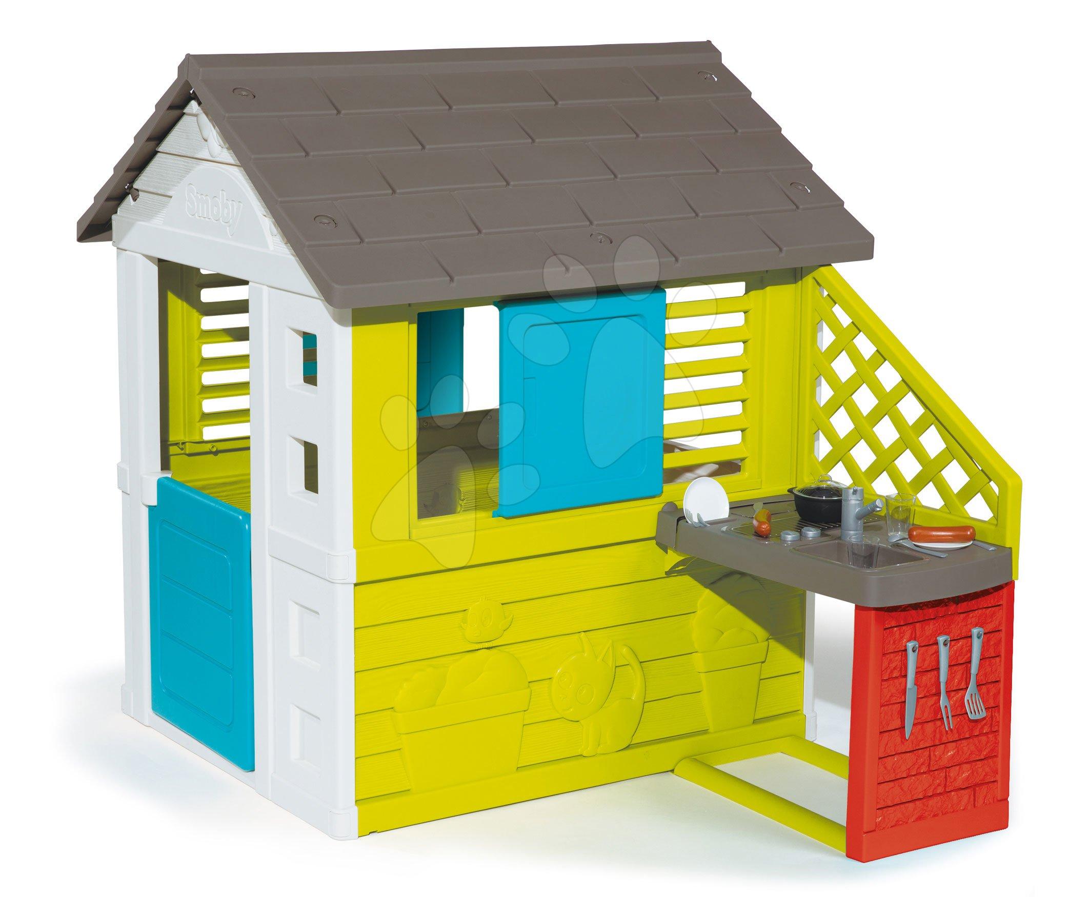 Domček s kuchynkou Pretty Blue Smoby modro-zelený 3 okná s 2 žalúziami a 2 posuvné okenice s UV filtrom a 17 doplnkov od 2 rokov