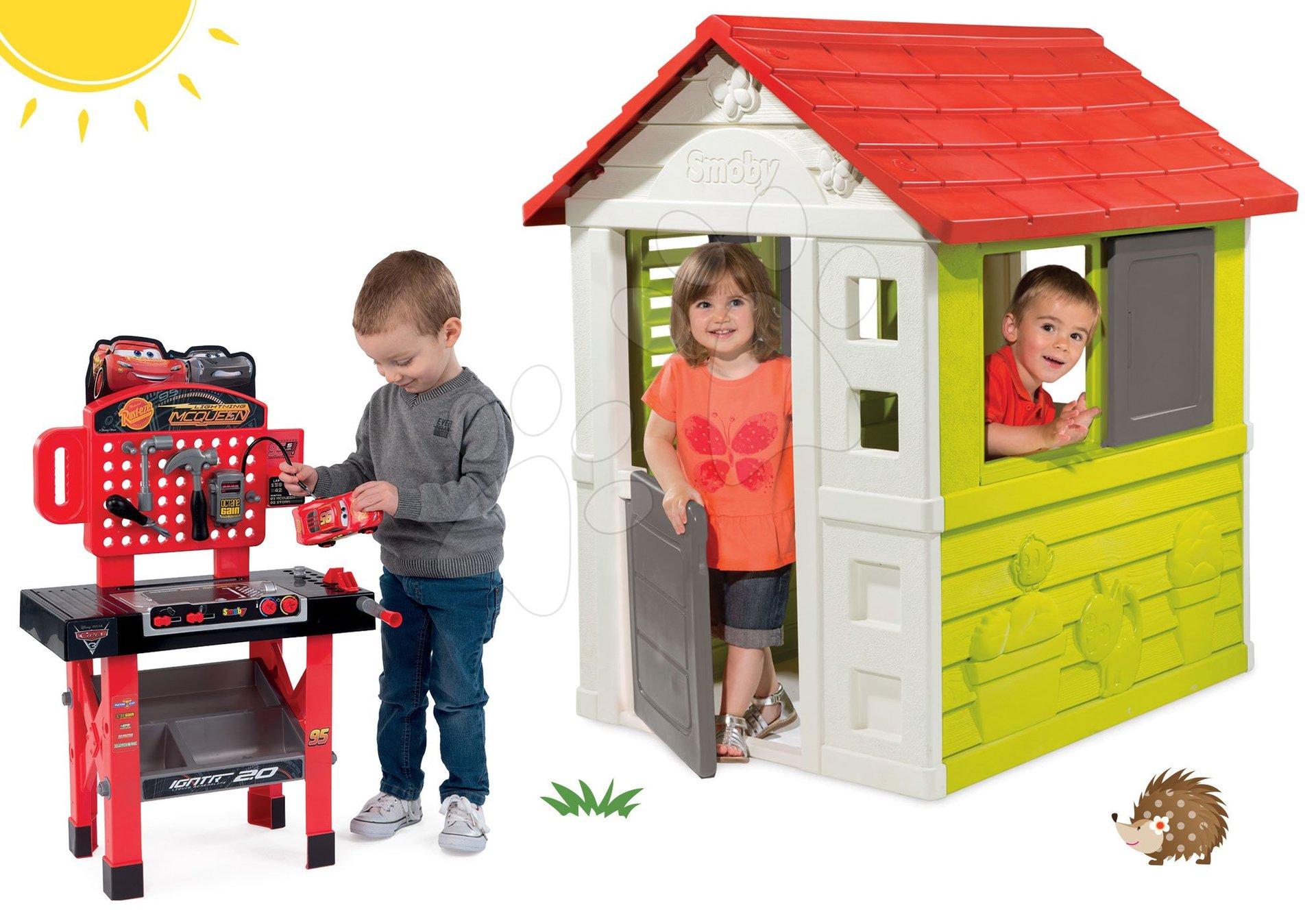 Komplet hišica Nature Smoby rdeča 3 okna 2 žaluzije in naoknica in delovna miza Cars z avtomobilčkom od 24 mes