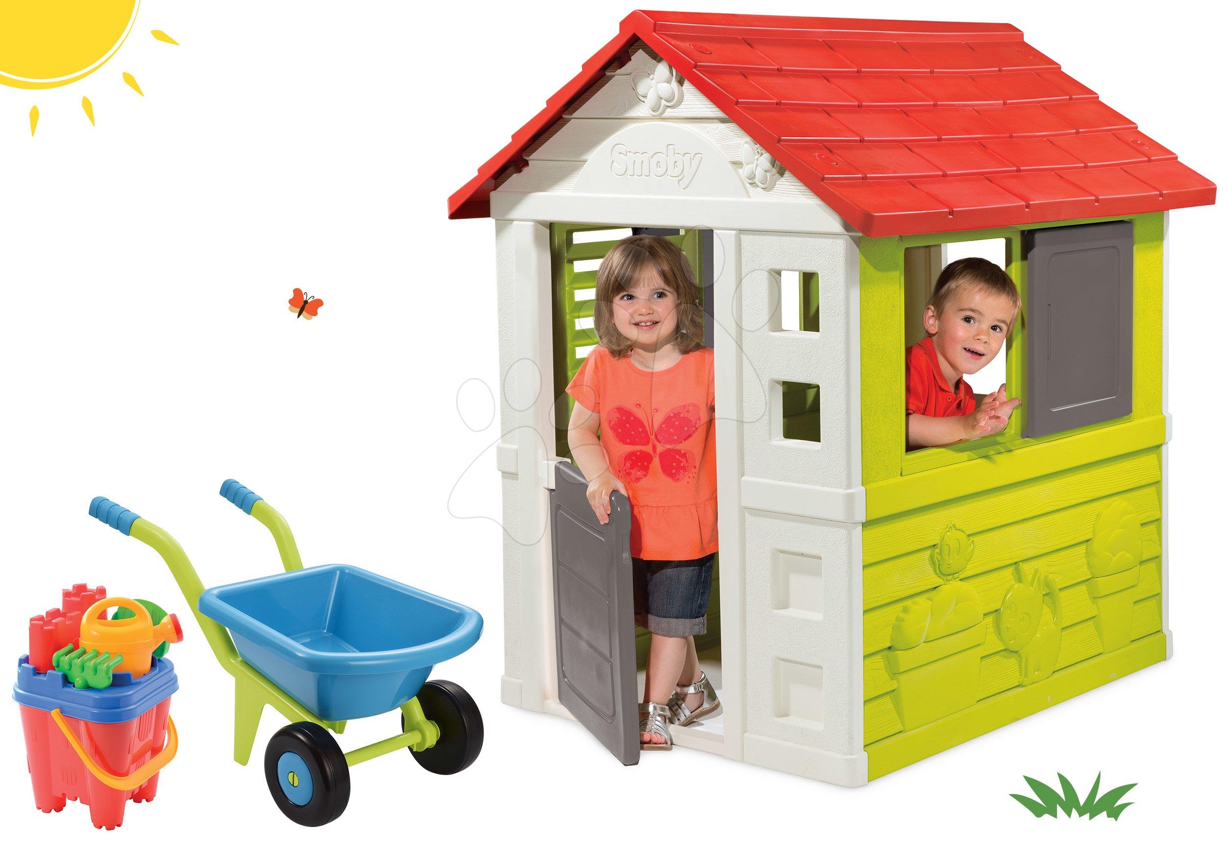 Domčeky pre deti - Set domček Nature Smoby a fúrik s vedierkom od 24 mes