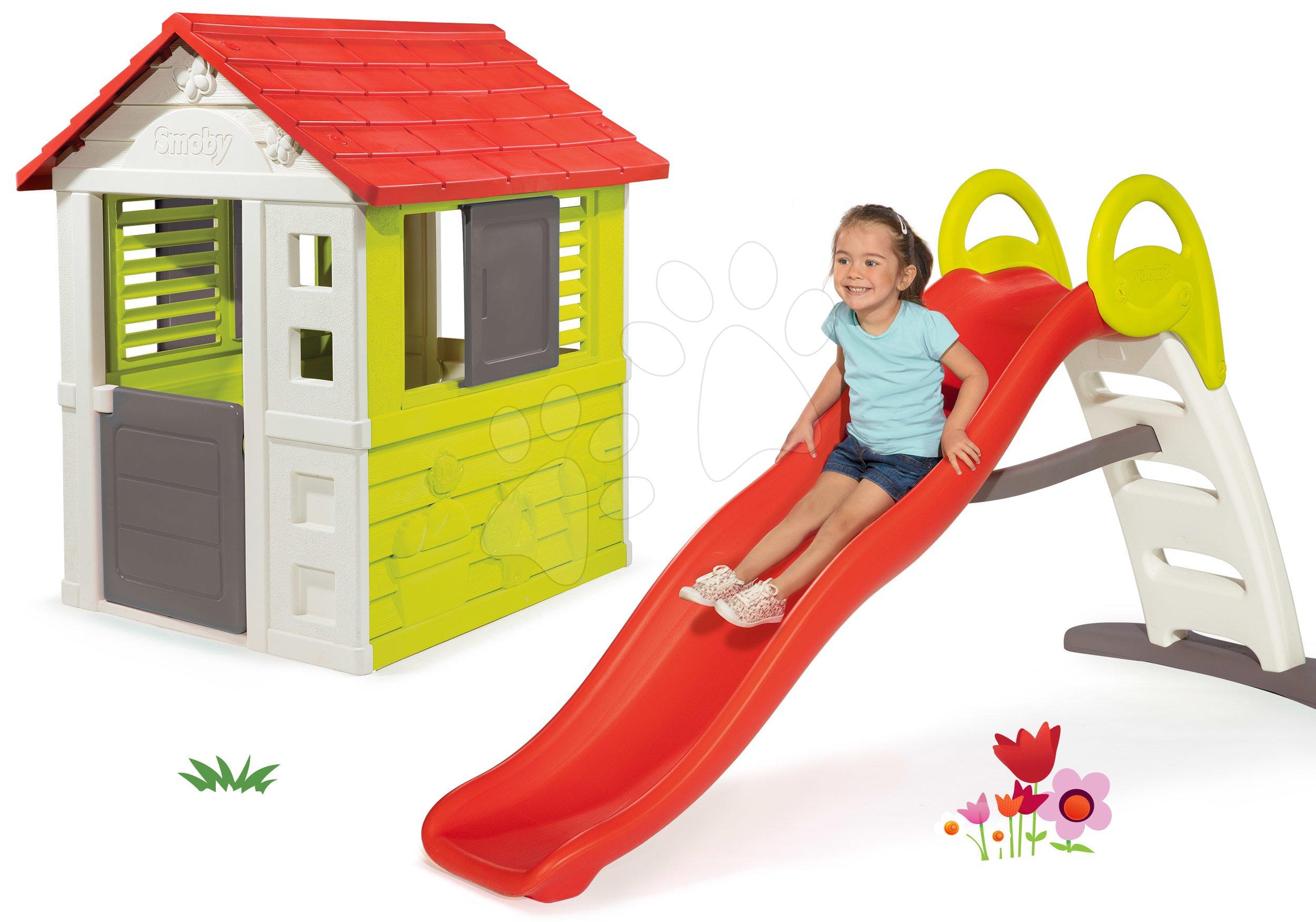 Domčeky so šmykľavkou - Set domček Nature Smoby a šmykľavka Funny Toboggan s dĺžkou 2 m od 24 mes