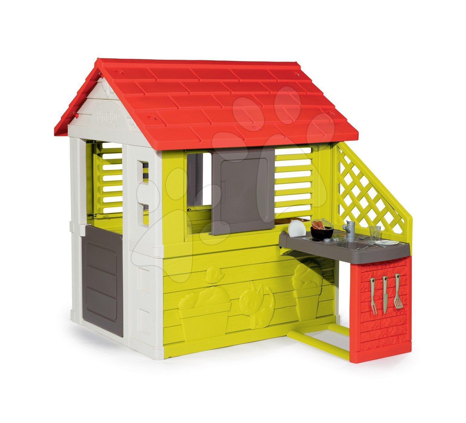 Domeček s kuchyňkou Nature Smoby červeno-zelený 3 okna s 2 žaluziemi a 2 posuvnými okenicemi s UV filtrem a 17 doplňky od 2 let