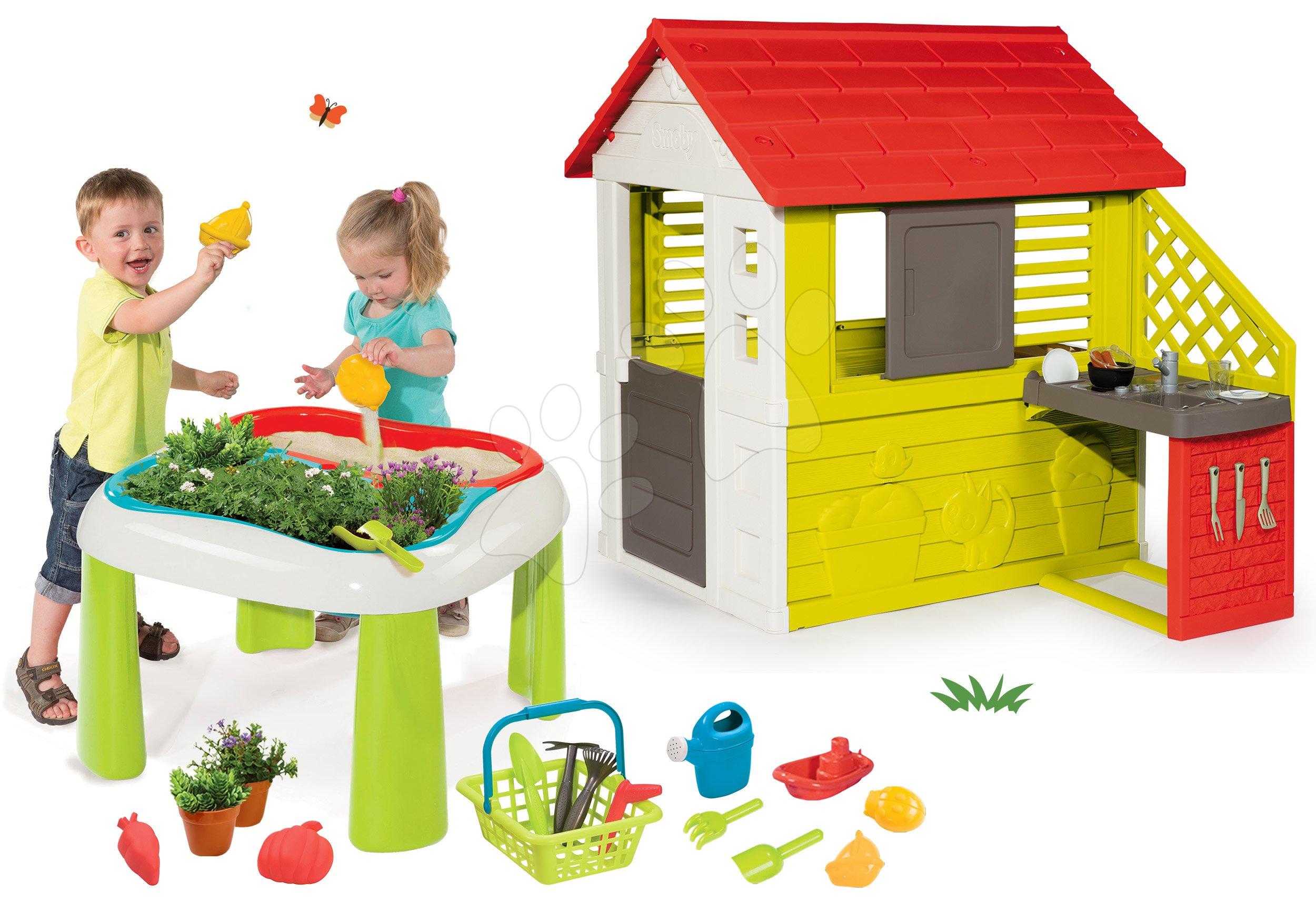 Set domeček Pretty Nature Smoby s letní kuchyňkou a stůl Zahradník De jardinage 2v1