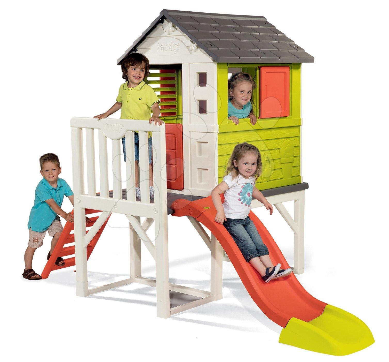 Dětský domeček na pilířích Pilings House Smoby se 1,5 m skluzavkou a žebříkem 810800