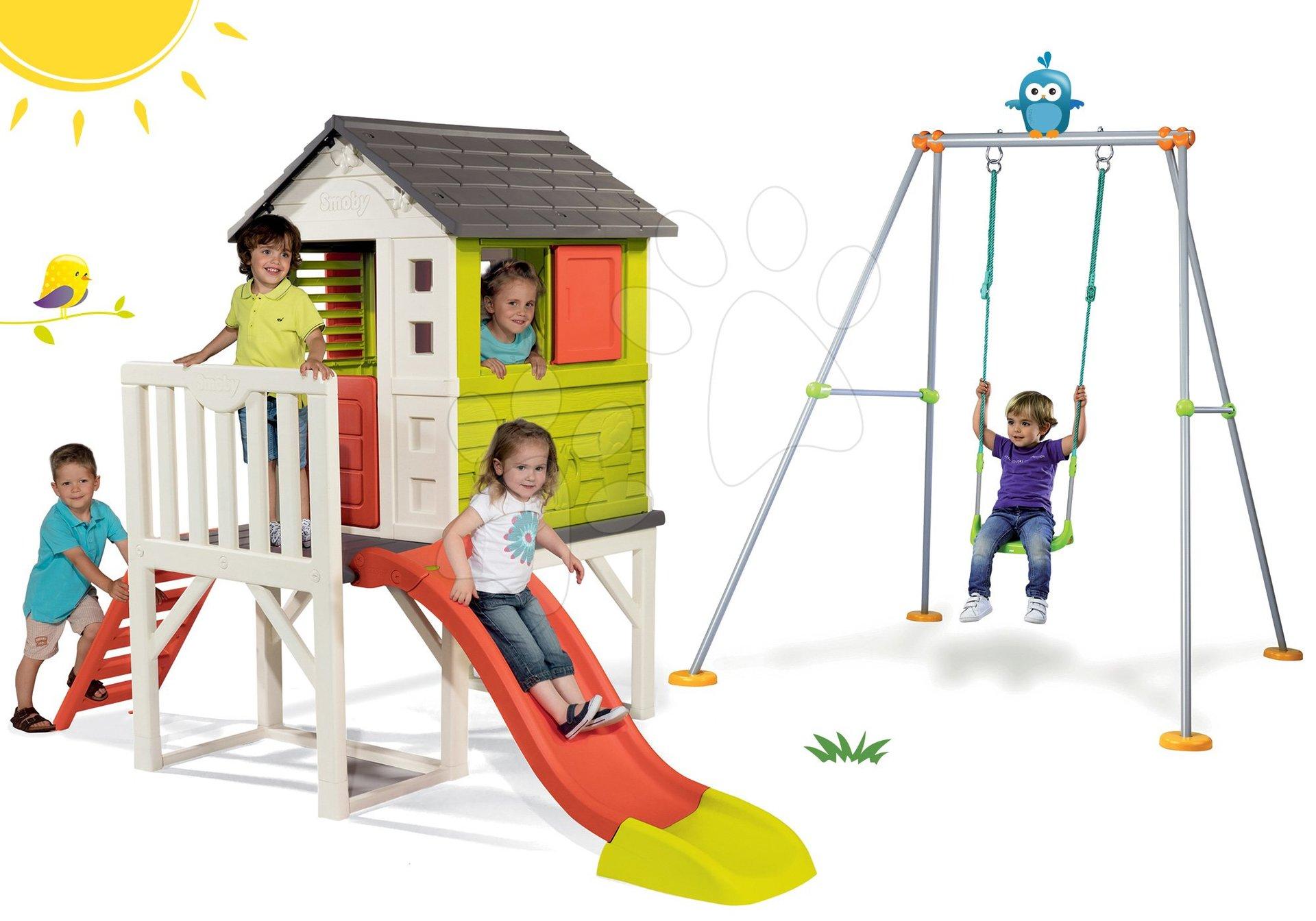 Smoby set dětský domeček na pilířích Pilings House s 1,5 m skluzavkou a houpačka s kovovou konstrukcí 810800-1